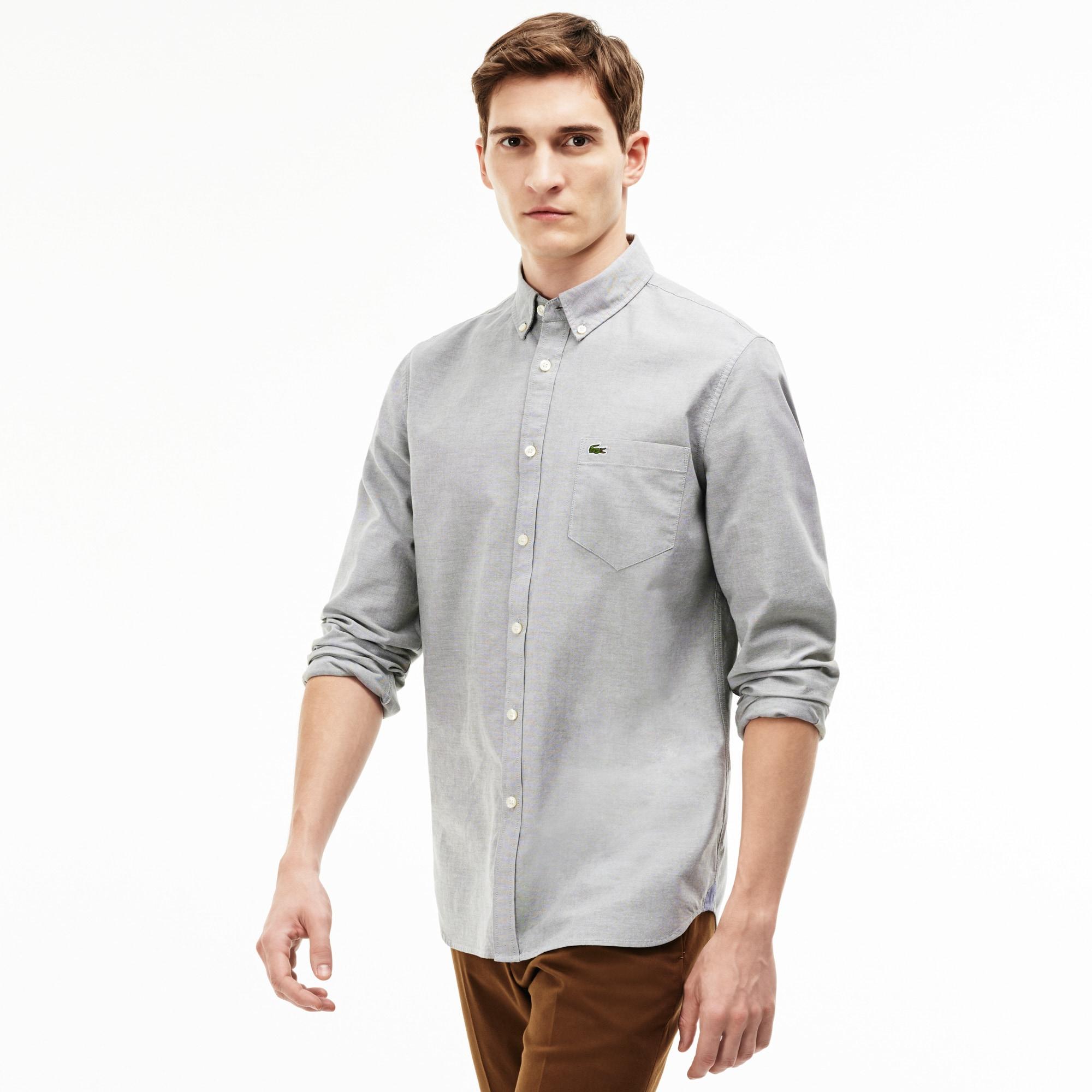 Camicia regular fit in cotone Oxford tinta unita