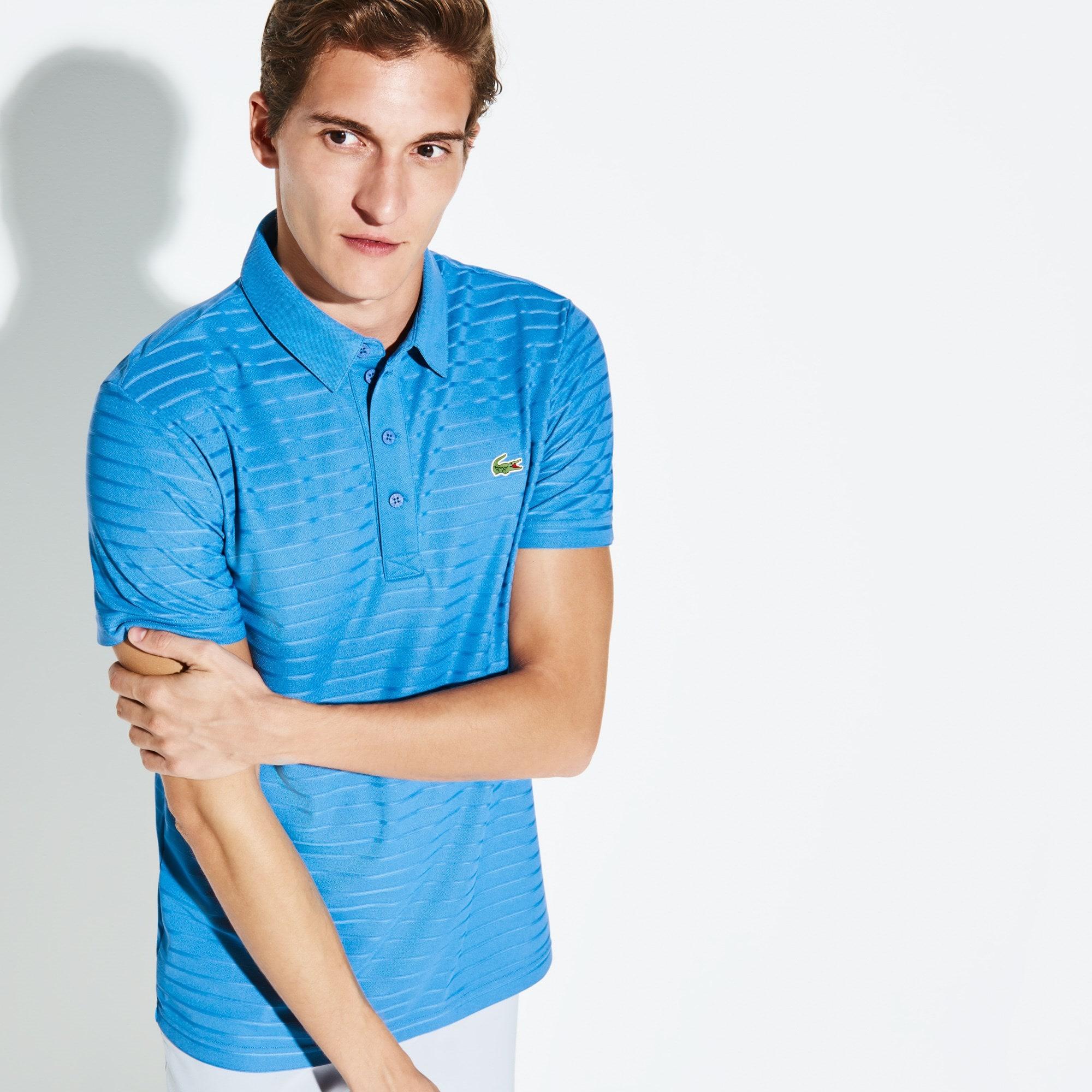 Polo Golf Lacoste SPORT in jersey jacquard tecnico a righe