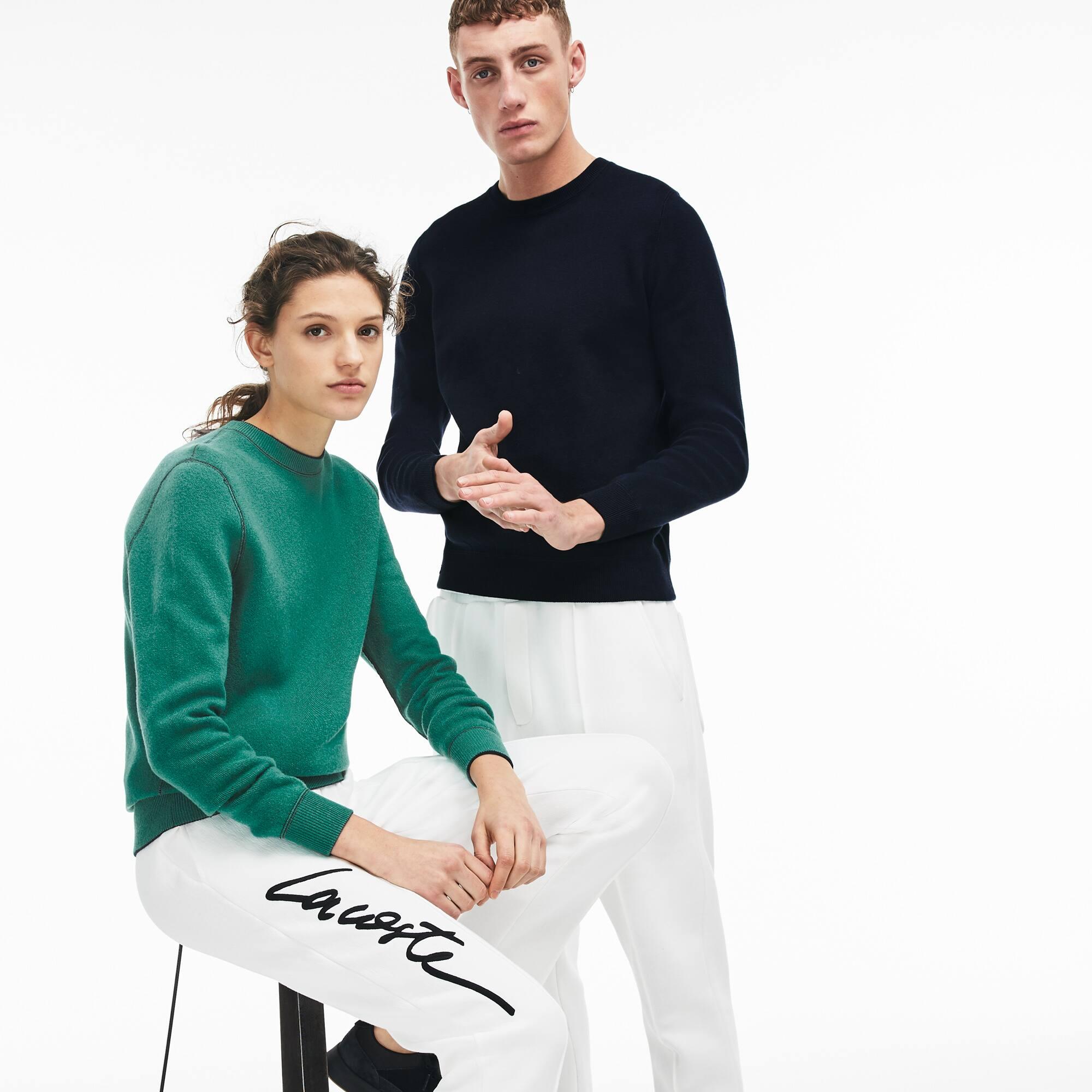 Pullover unisex reversibile Lacoste LIVE in jersey di lana tinta unita