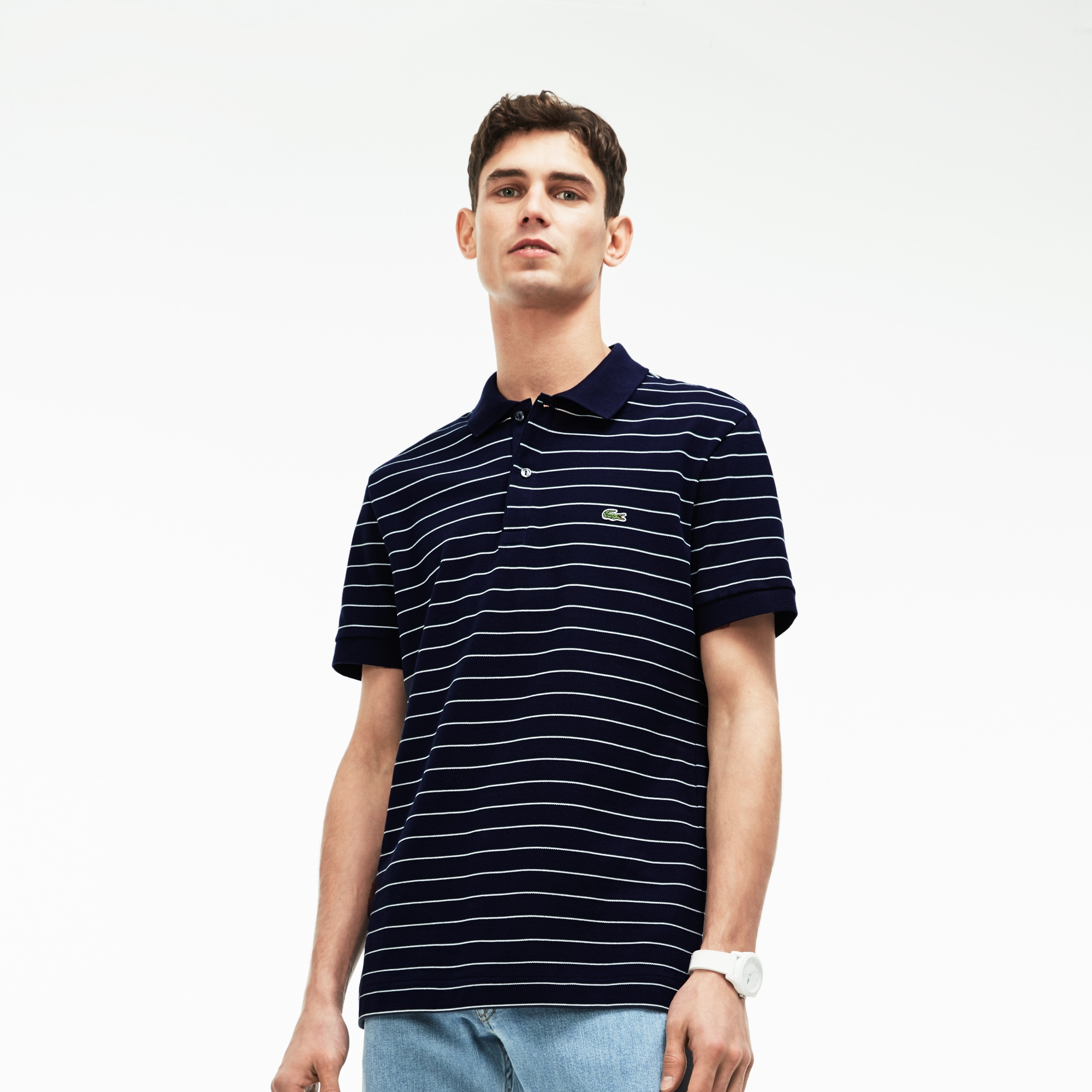 Polo regular fit Lacoste in piqué di cotone a righe
