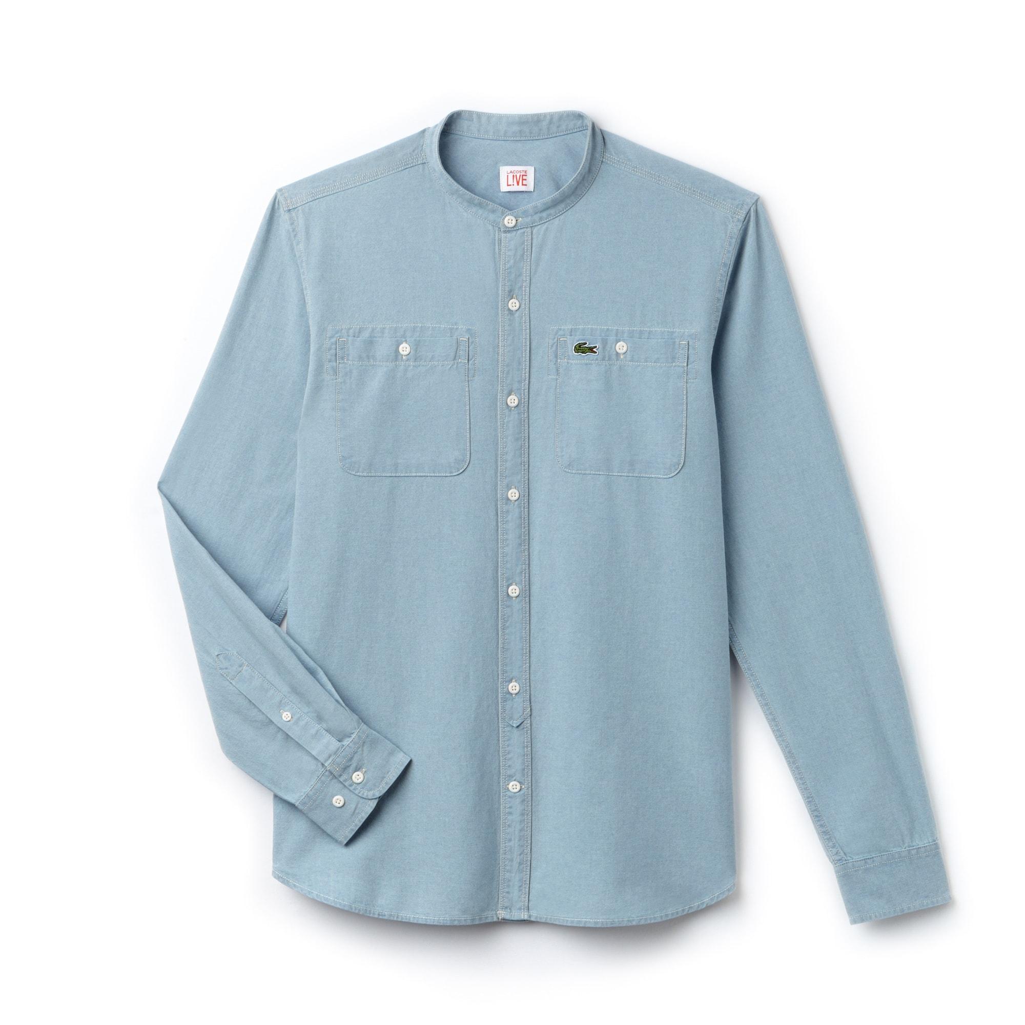Camicia con collo da ufficiale Skinny fit Lacoste LIVE in chambray di cotone tinta unita