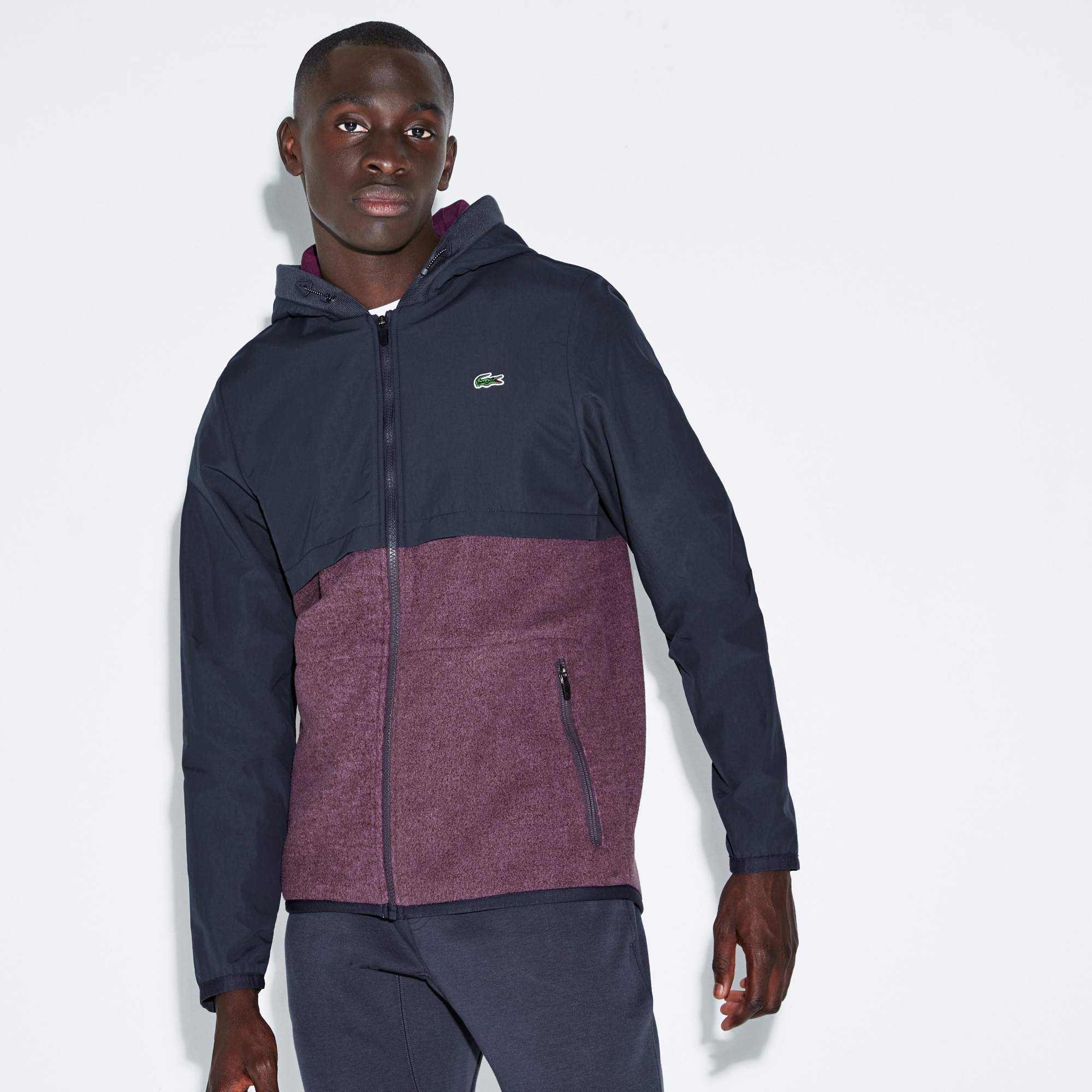 Giubbotto in bi-materiale con cappuccio Tennis Lacoste SPORT color block