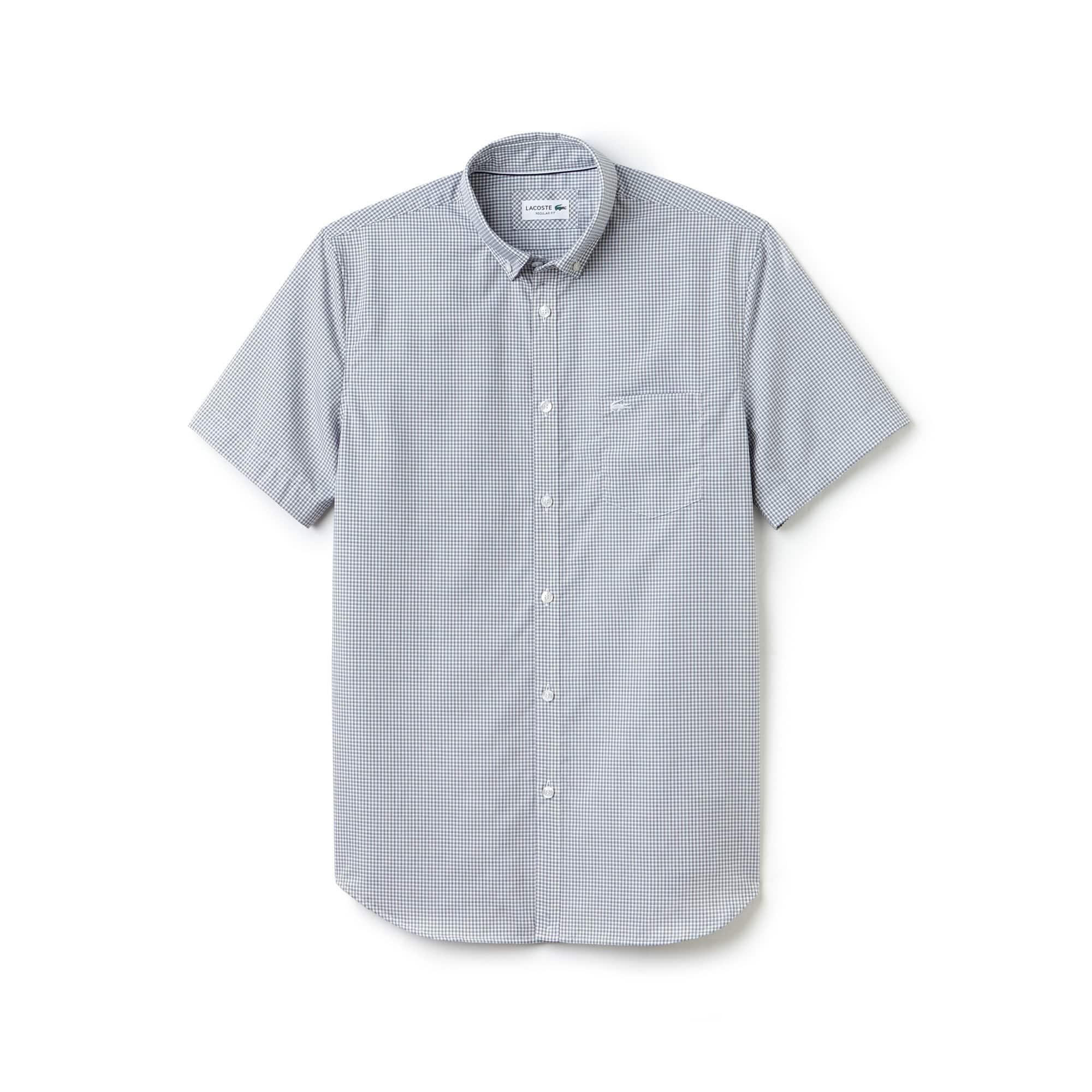 Camicia regular fit a maniche corte in popeline a mini quadretti