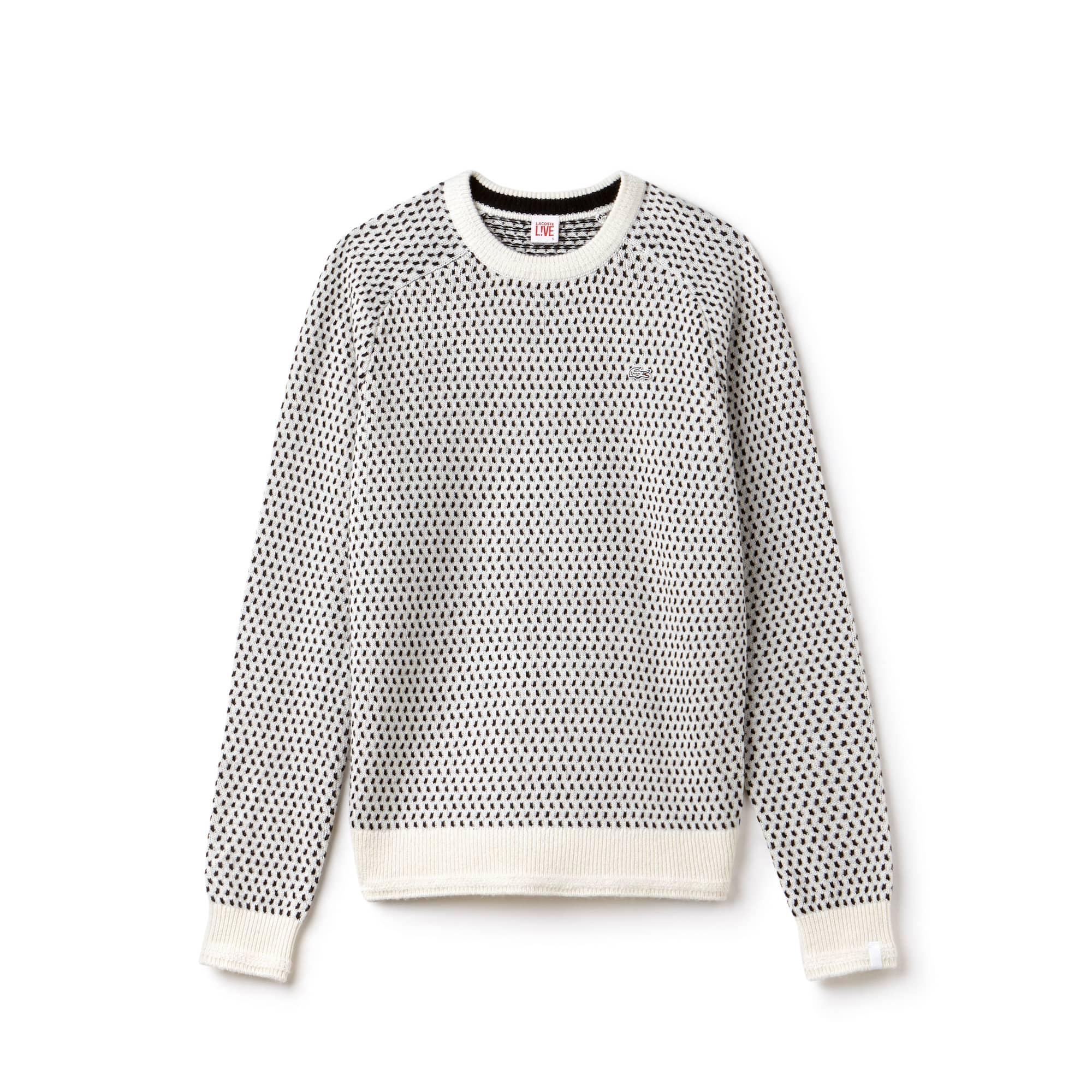 Pullover a girocollo Lacoste LIVE in mini jacquard di misto lana