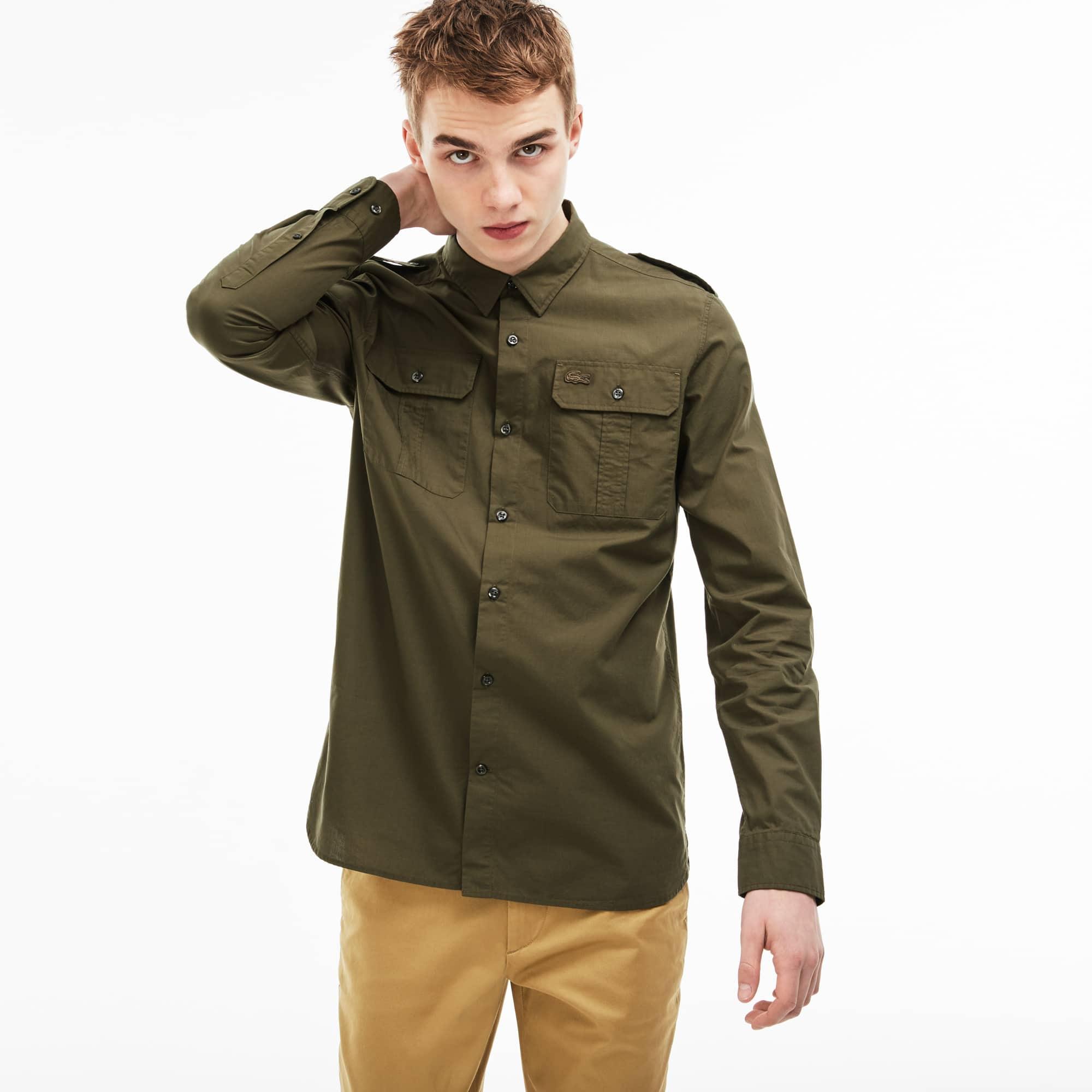 Camicia Skinny fit Lacoste LIVE in popeline di cotone tinta unita con tasche
