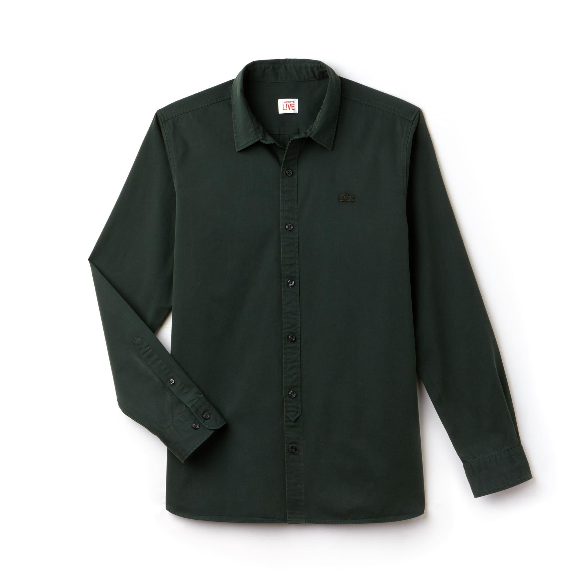 Camicia Skinny fit Lacoste LIVE in popeline di cotone tinta unita