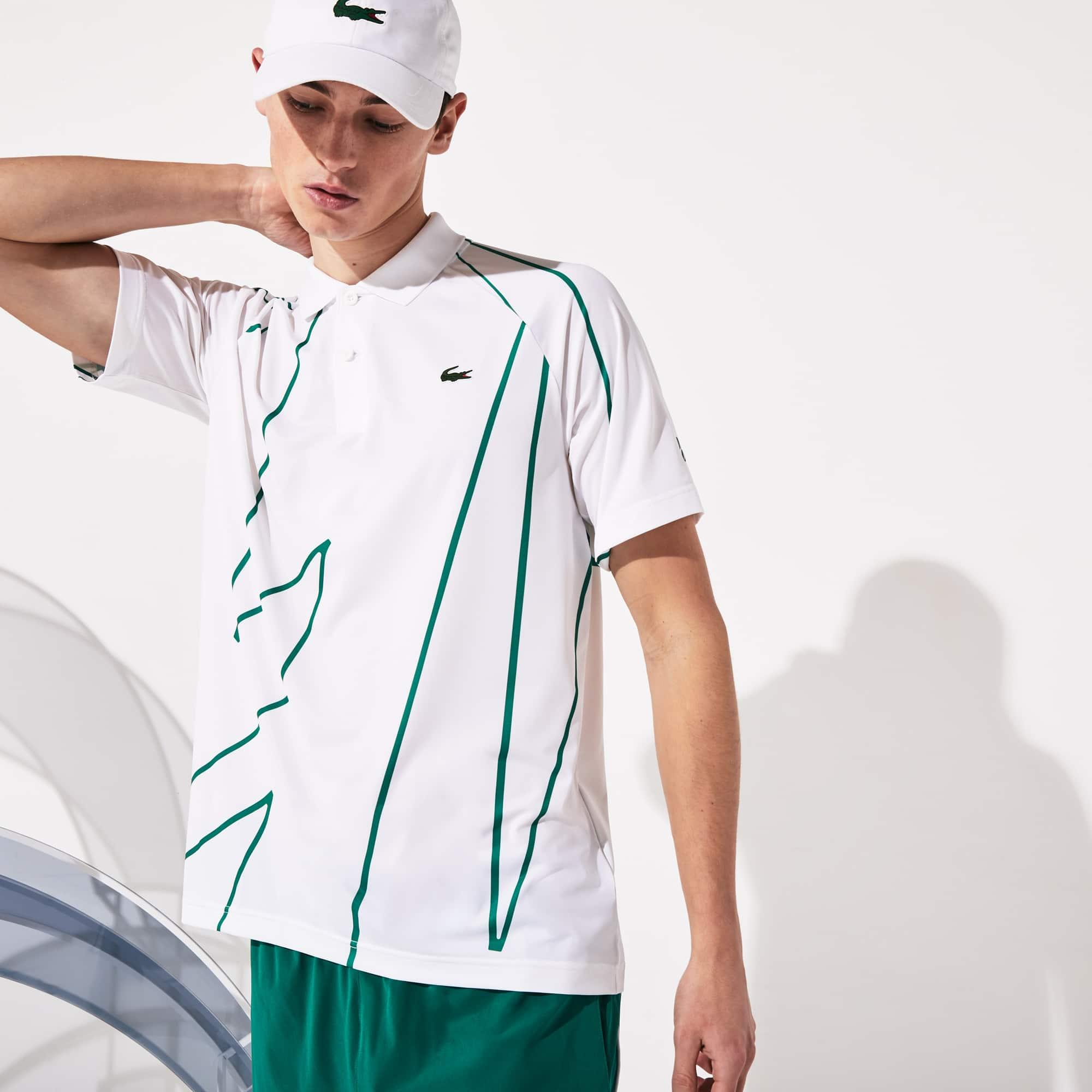 Polo da uomo traspirante con stampa Lacoste SPORT x Novak Djokovic