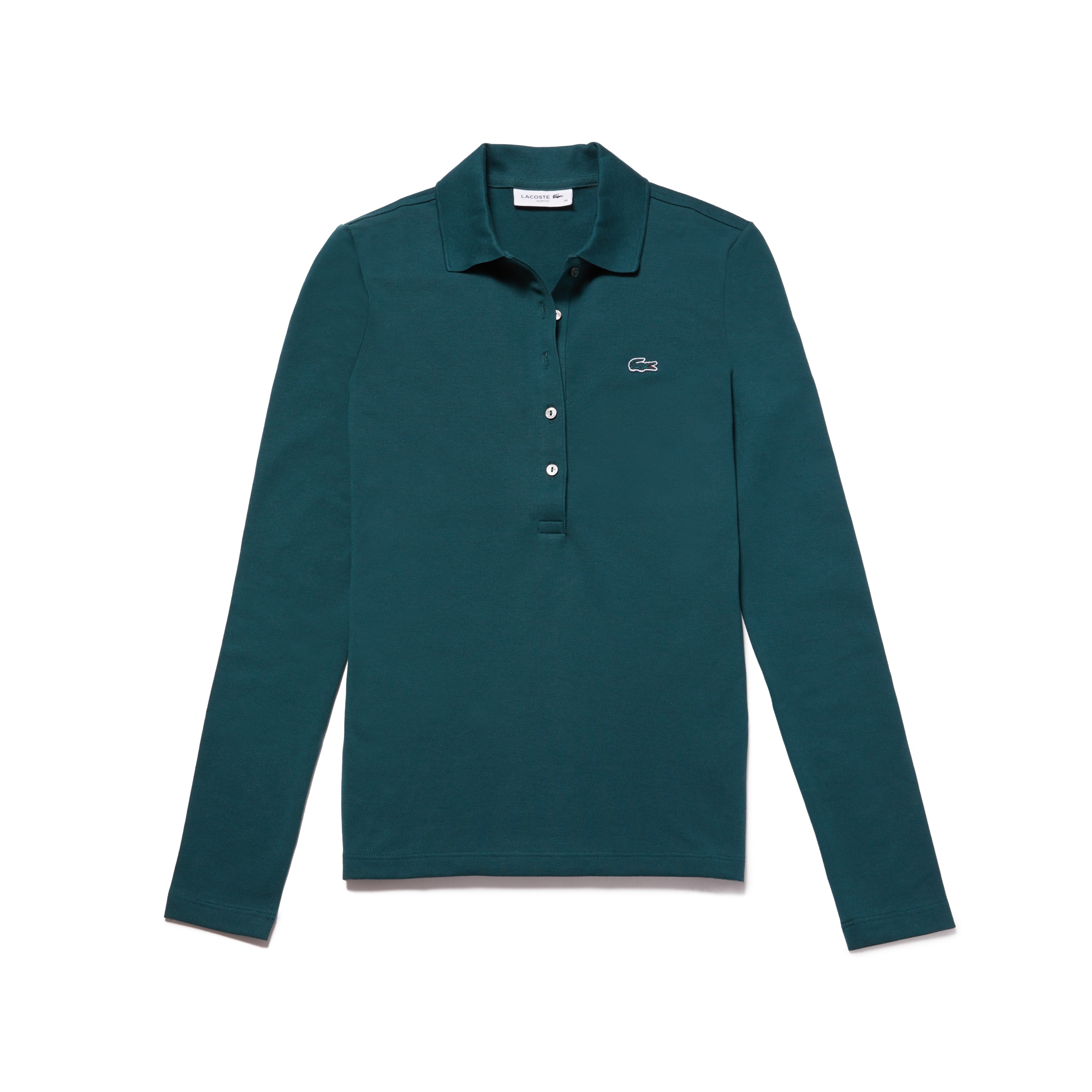 Polo slim fit Lacoste a maniche lunghe in mini piqué stretch
