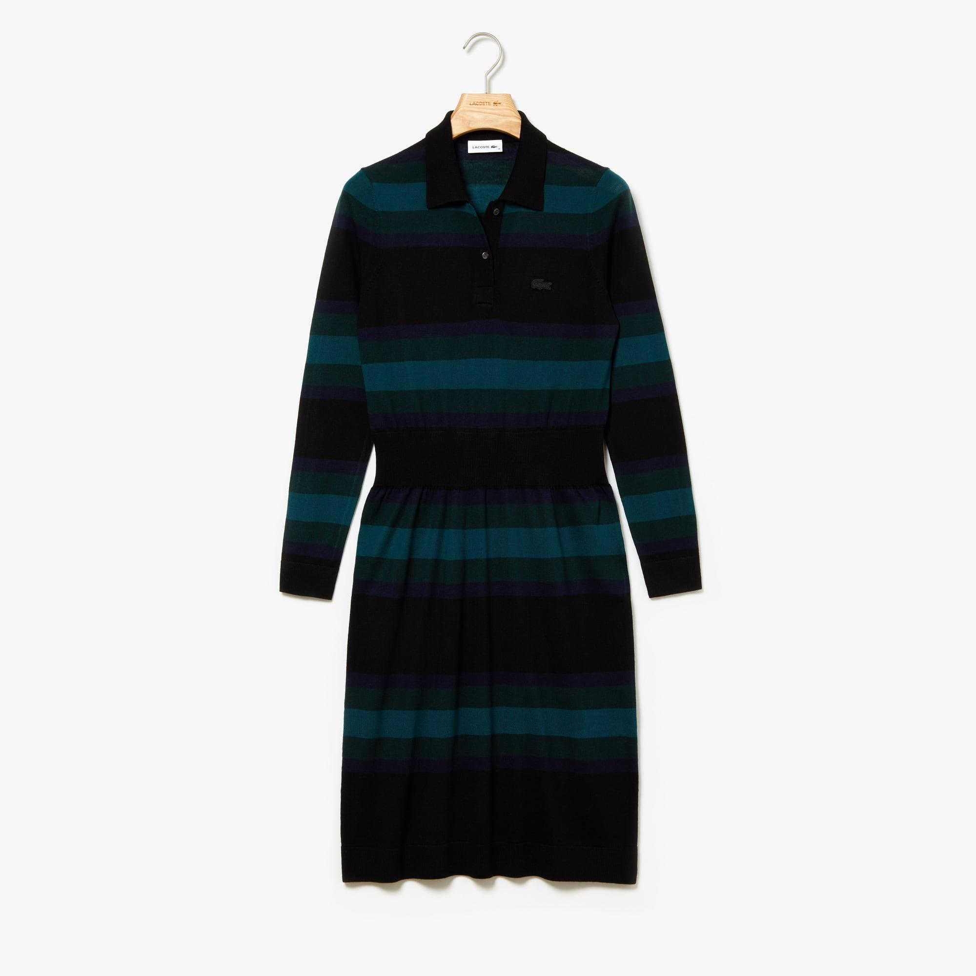 check out 402dd ac7f1 Vestito a polo da donna aderente di lana a righe