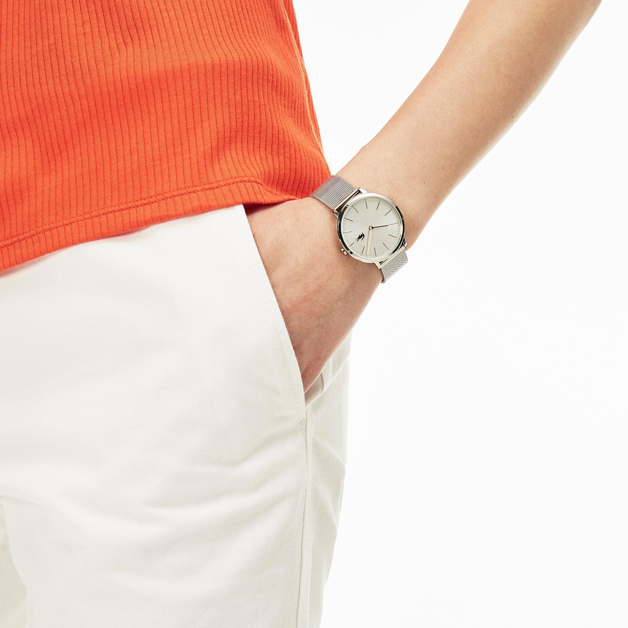 Orologio ultra sottile Moon da donna con cinturino a bracciale con maglie in acciaio inossidabile