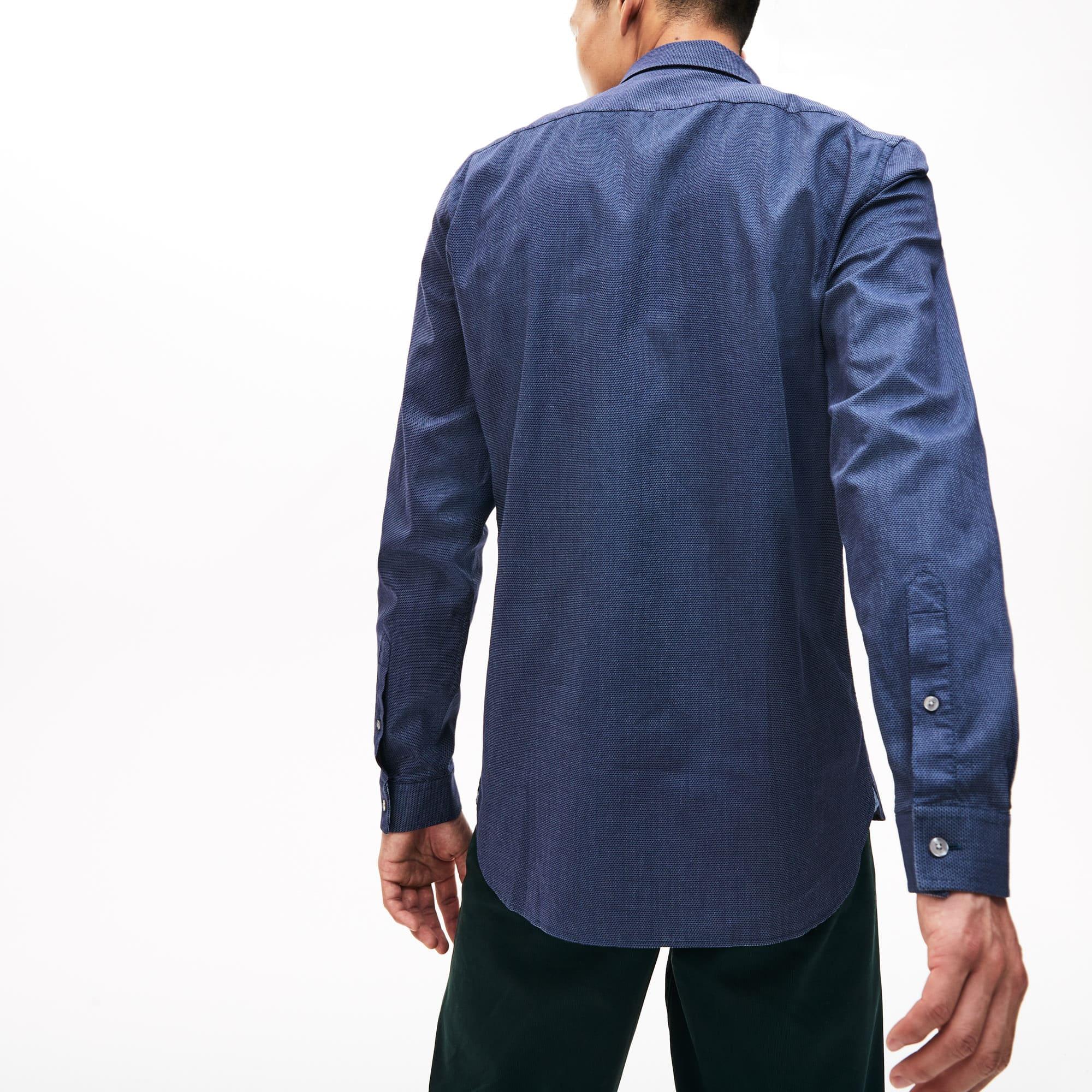 340ded20c1 Camicia da uomo in popeline di cotone con stampa a pois slim fit