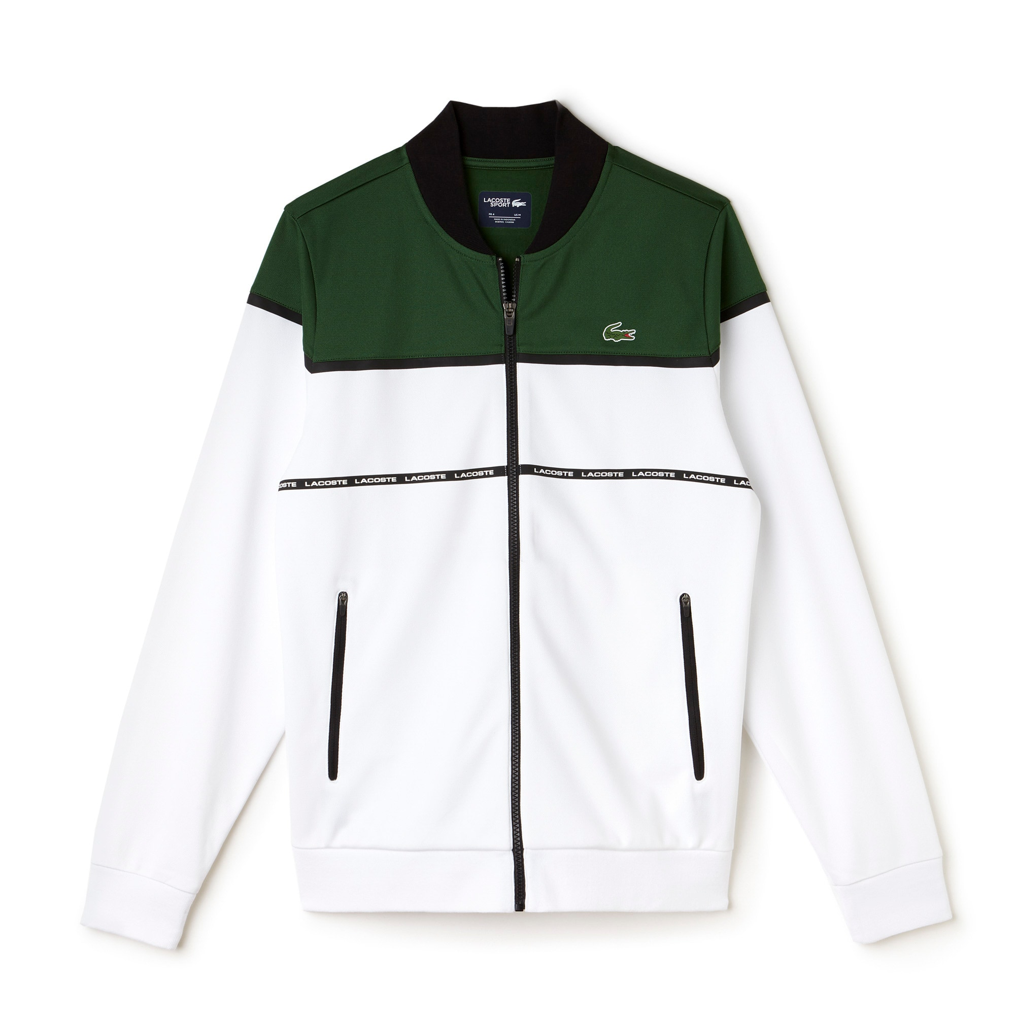 Giacca con zip Tennis Lacoste SPORT in piqué tecnico color block
