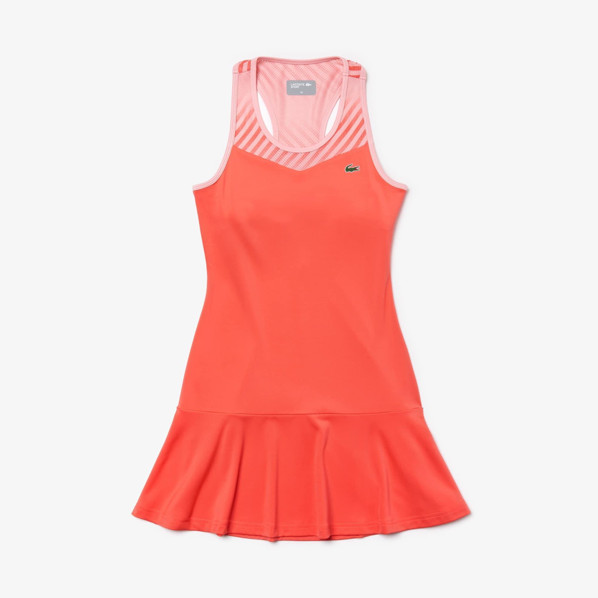 Vestito da tennis da donna in jersey con rete stampata e scollo nuotatore Lacoste SPORT
