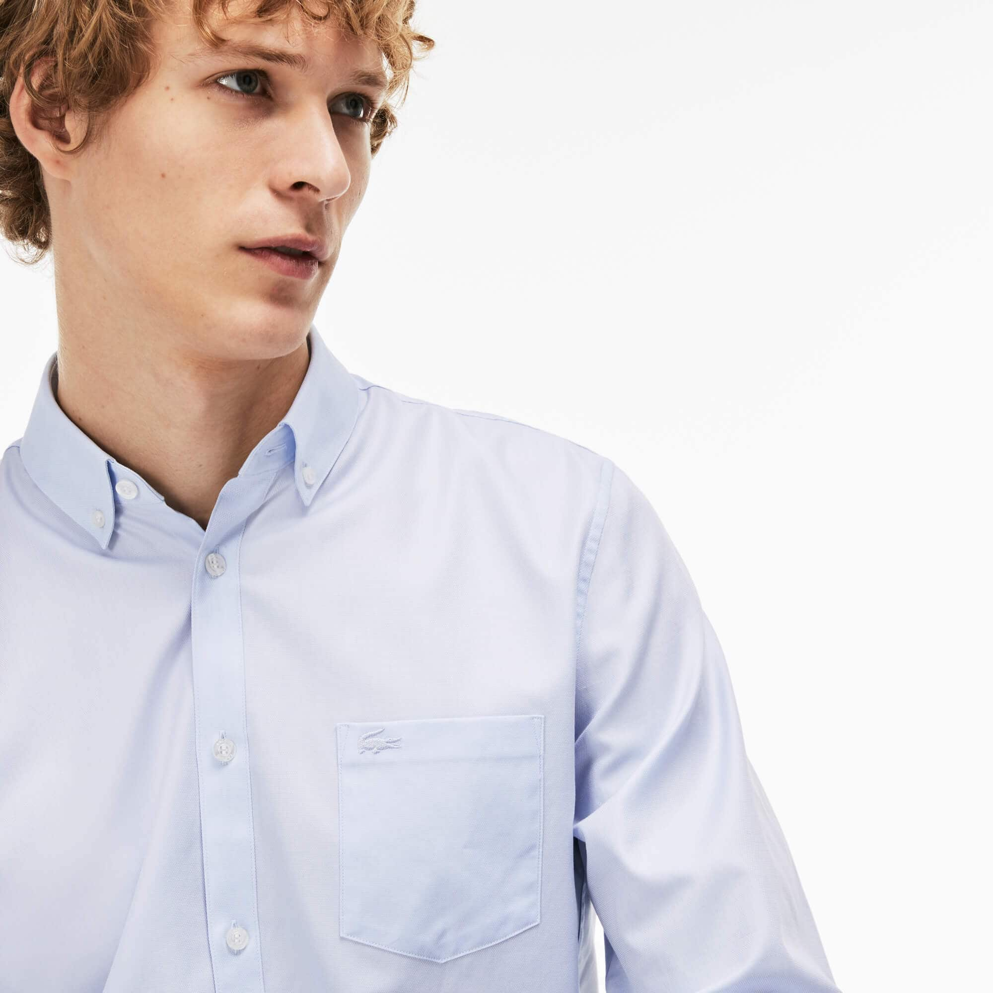 Camicia regular fit in mini piqué di cotone tinta unita