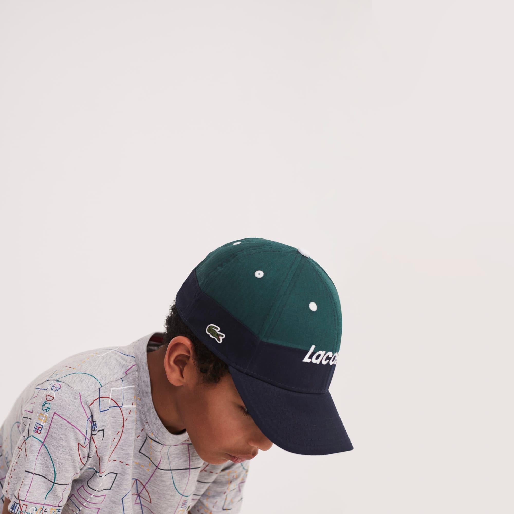 Berretto con visiera bicolore Bambino in gabardine con scritta Lacoste