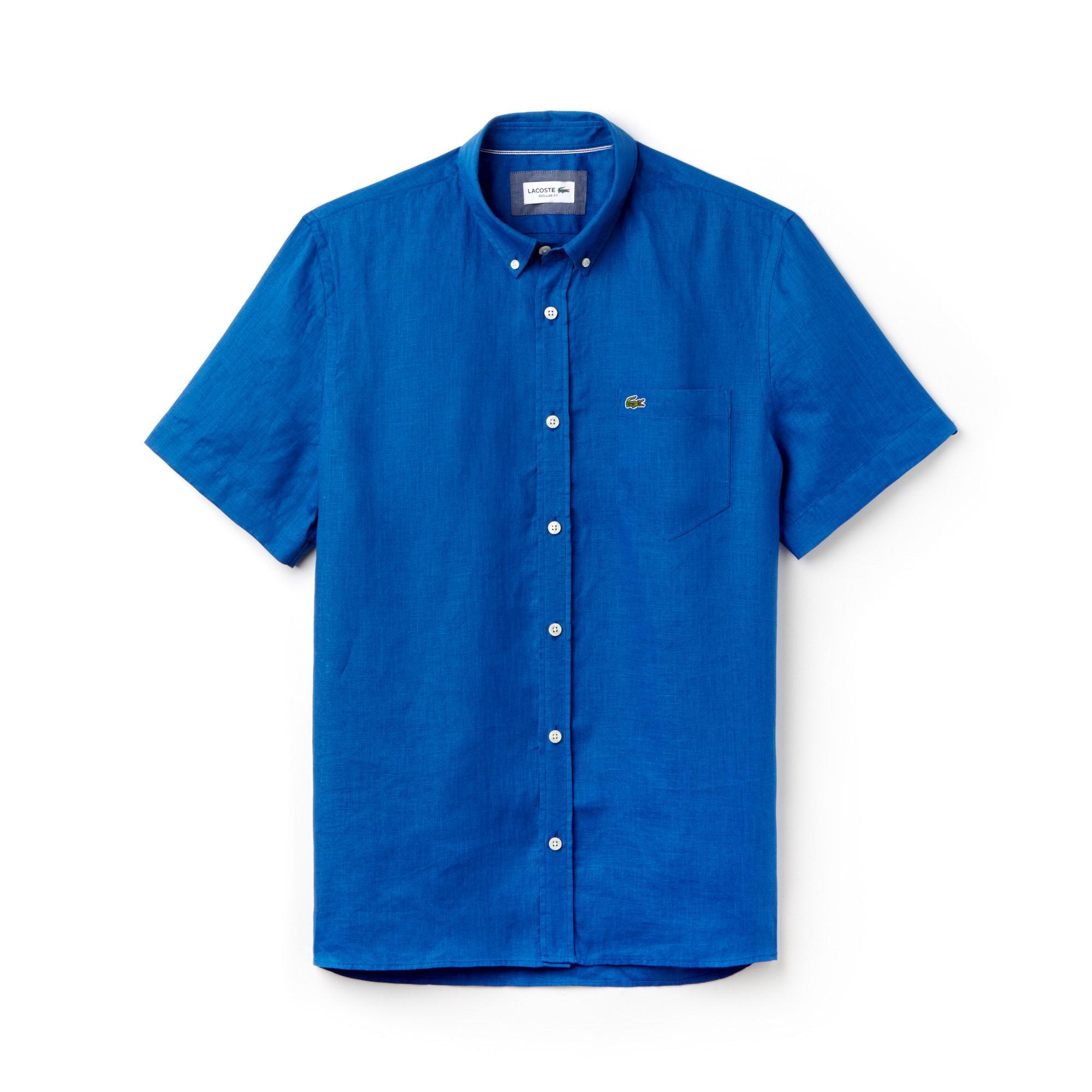 Camicia regular fit a maniche corte in tela di lino tinta unita