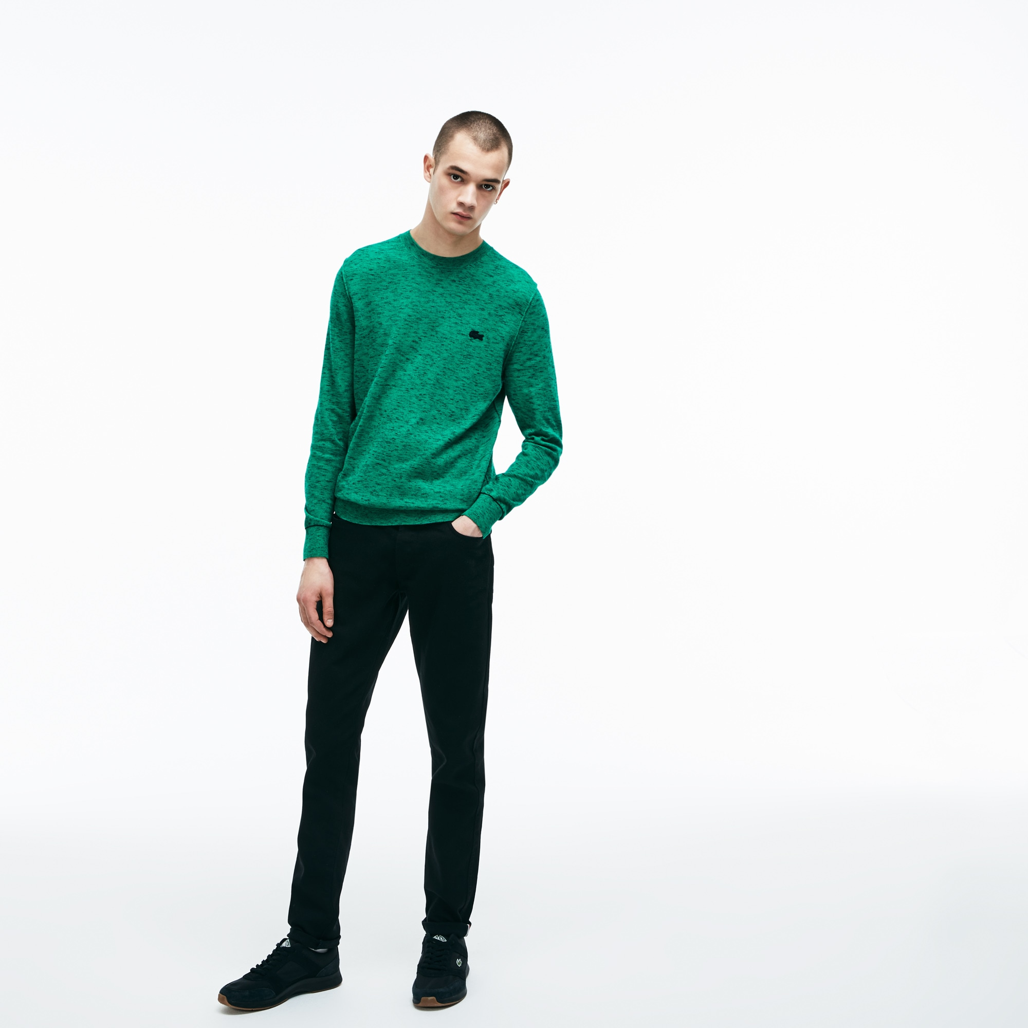 Jeans 5 tasche Lacoste LIVE in cotone stretch con risvolti