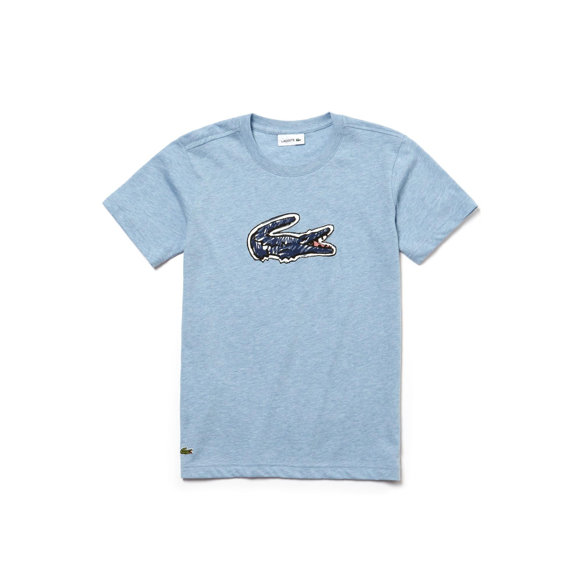 T-shirt Bambino a girocollo in jersey indaco con stampa del coccodrillo