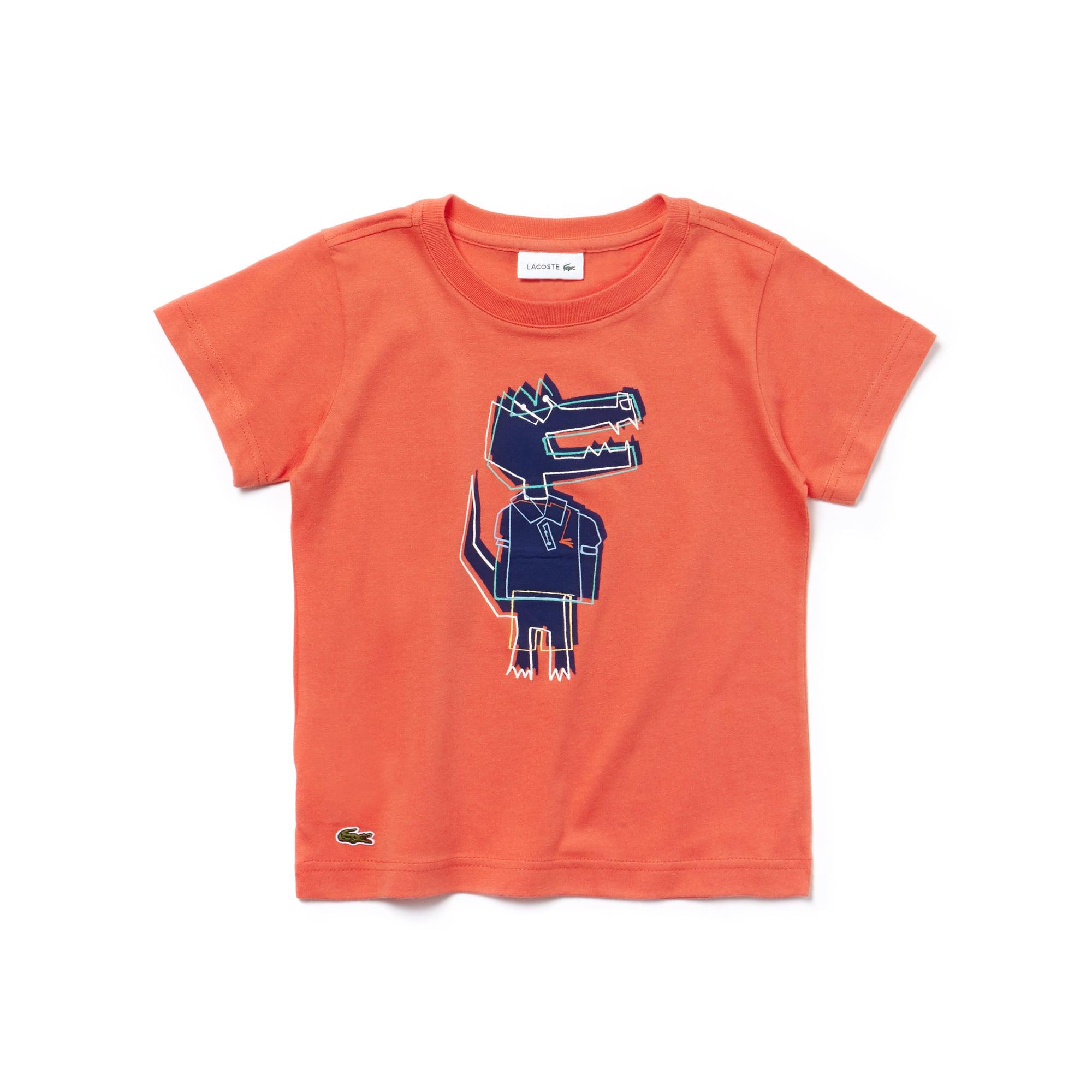 T-shirt Bambino a girocollo in jersey con stampa del coccodrillo