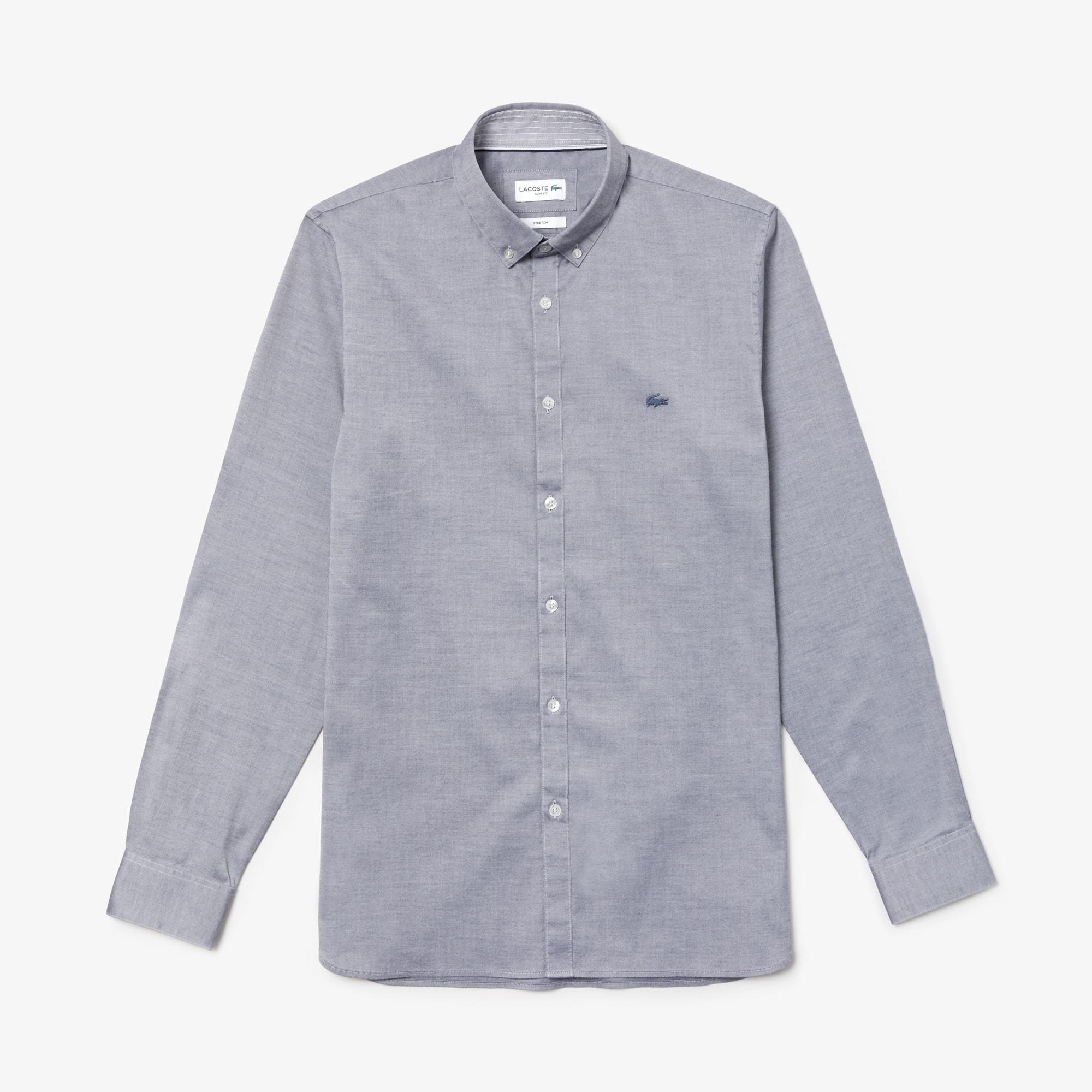 Camicia slim fit in cotone pinpoint stretch tinta unita
