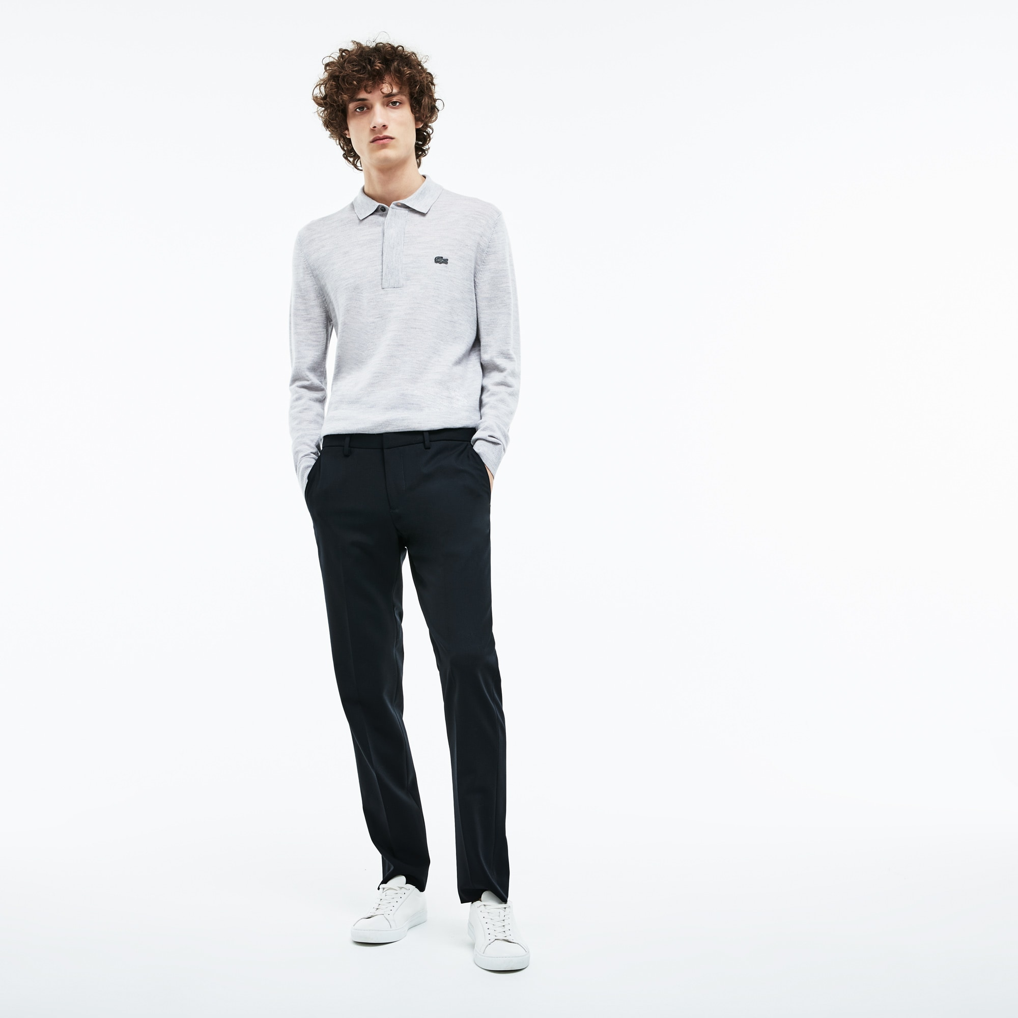 Pantaloni chino slim fit in twill stretch tinta unita