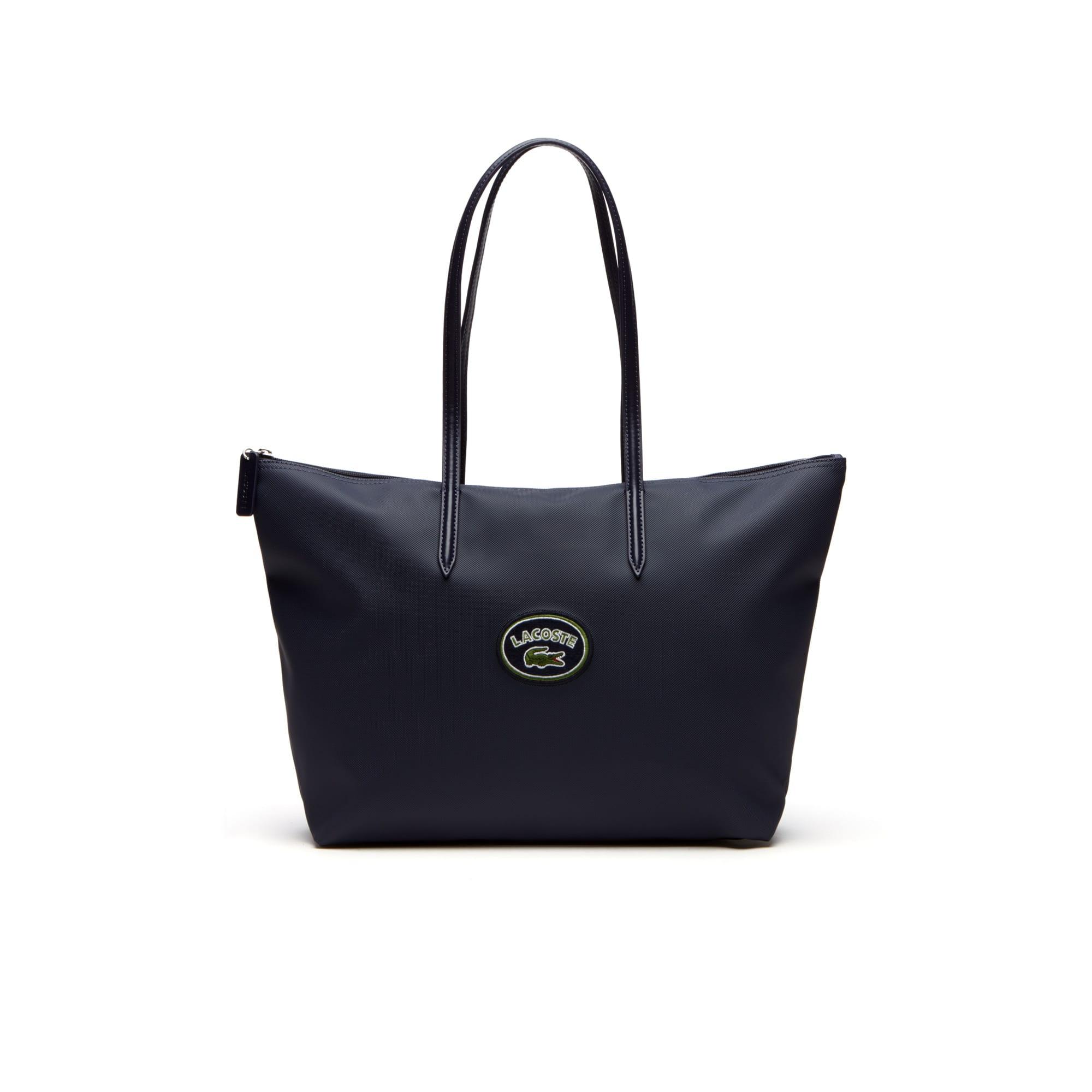 Shopping bag con cerniera ampia e simbolo Lacoste L.12.12 Concept da donna