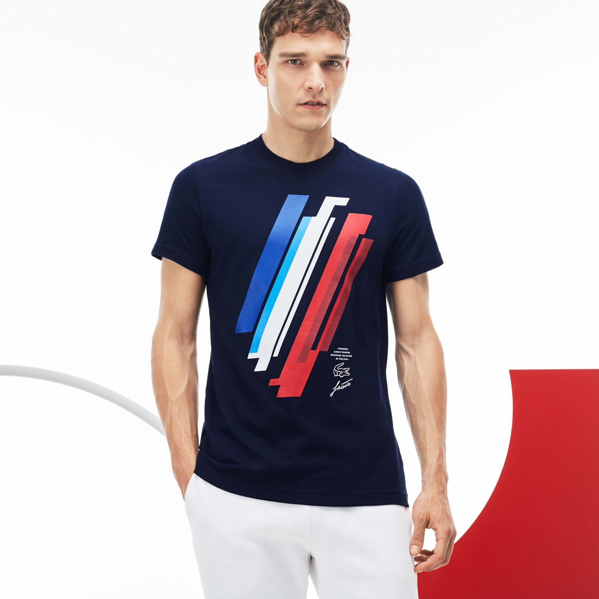 T-shirt Lacoste SPORT in jersey con stampa Edizione COLLECTION TRICOLORE