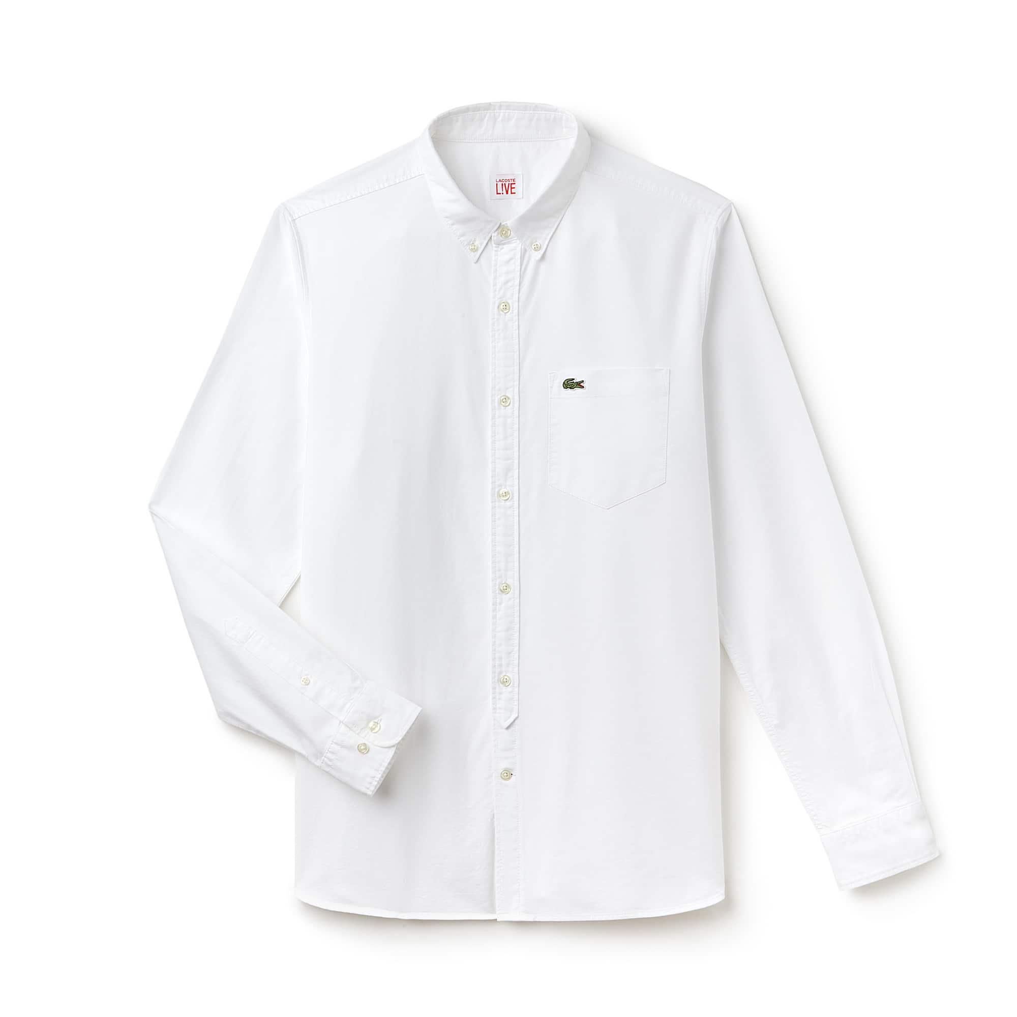Camicia slim fit Lacoste LIVE in cotone Oxford tinta unita