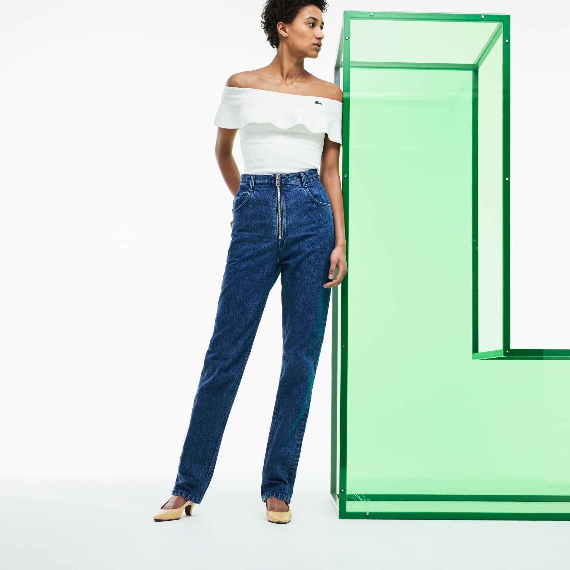 Jeans a vita alta in denim Edizione Défilé