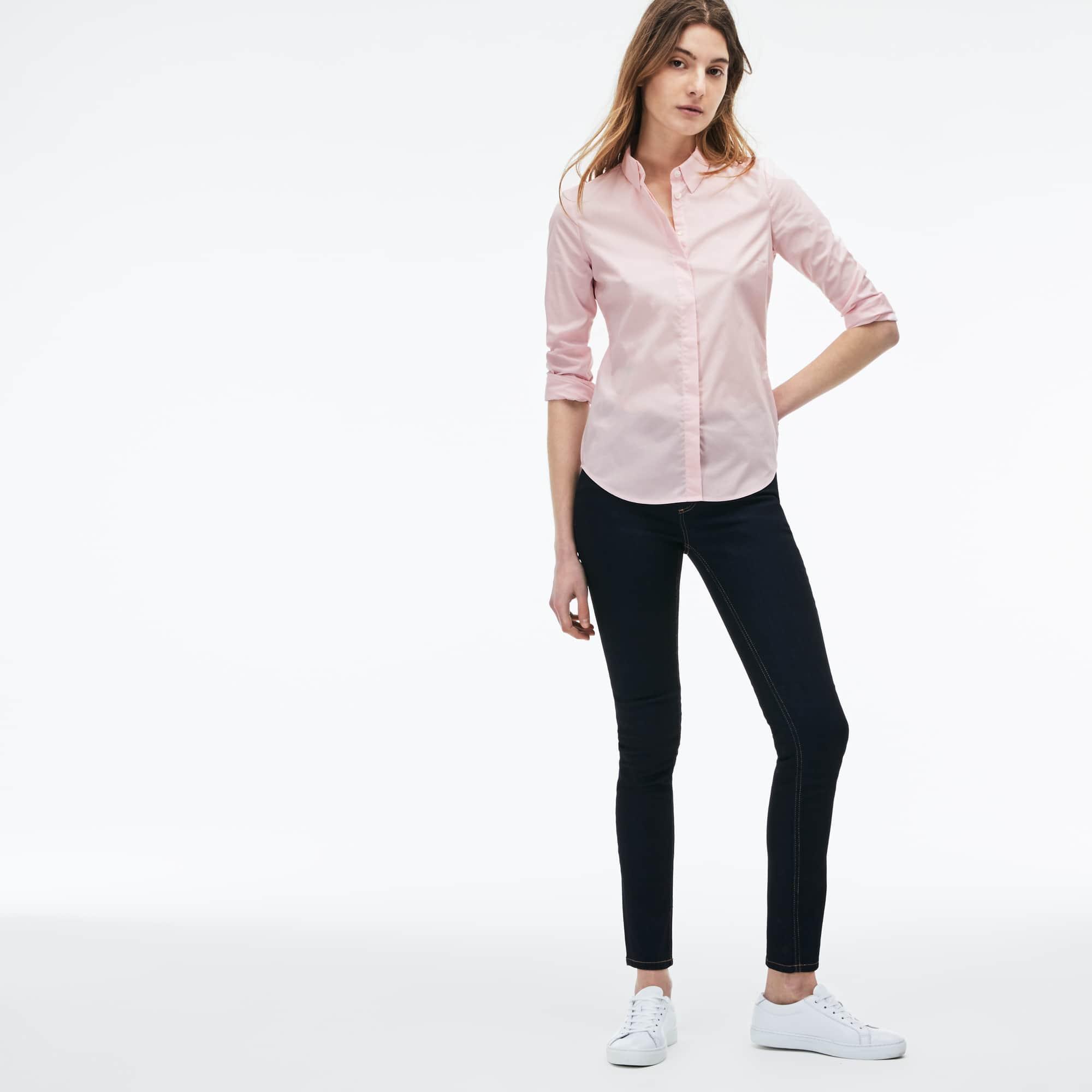 Camicia slim fit in popeline di cotone stretch tinta unita