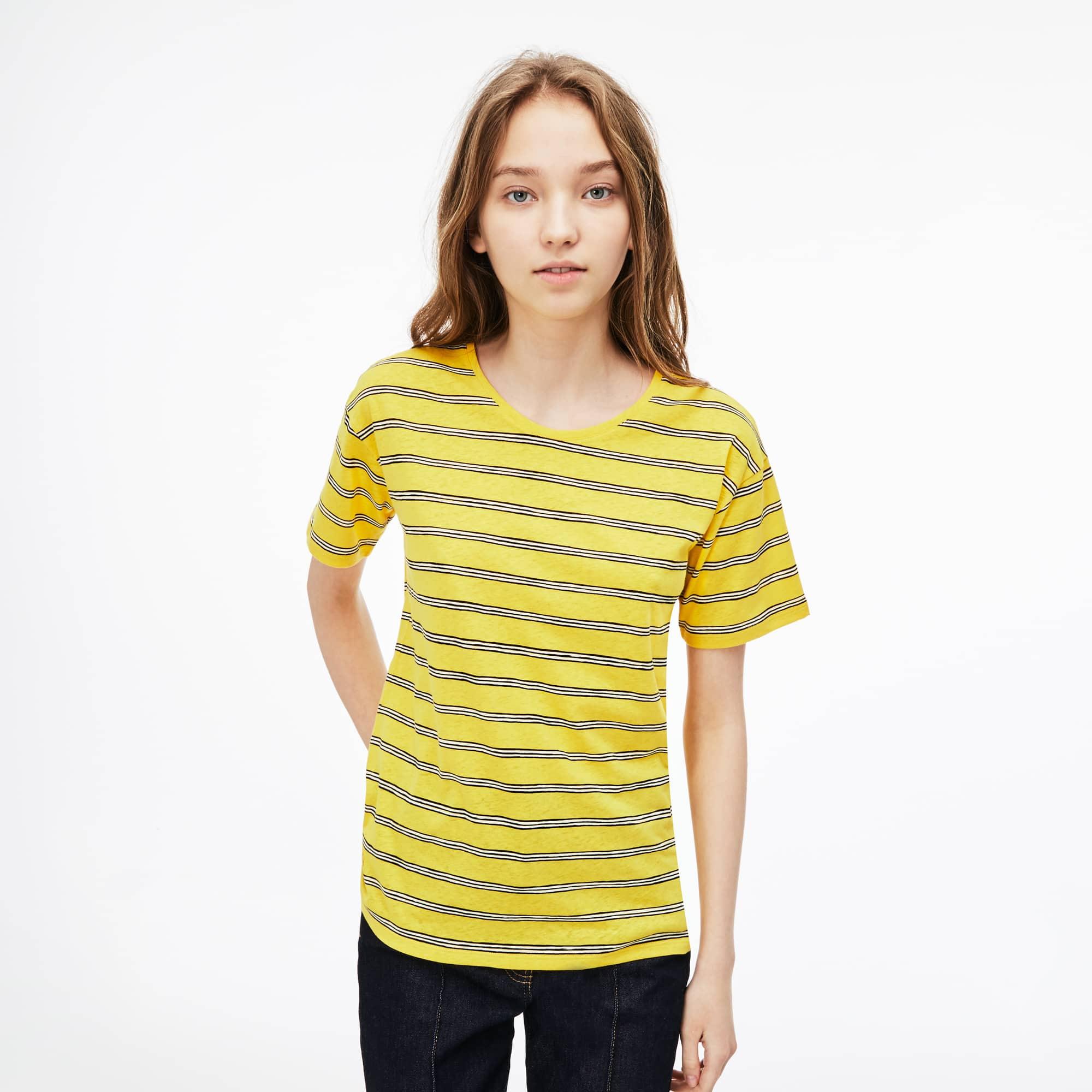 T-shirt con collo svasato in jersey di cotone e lino a righe