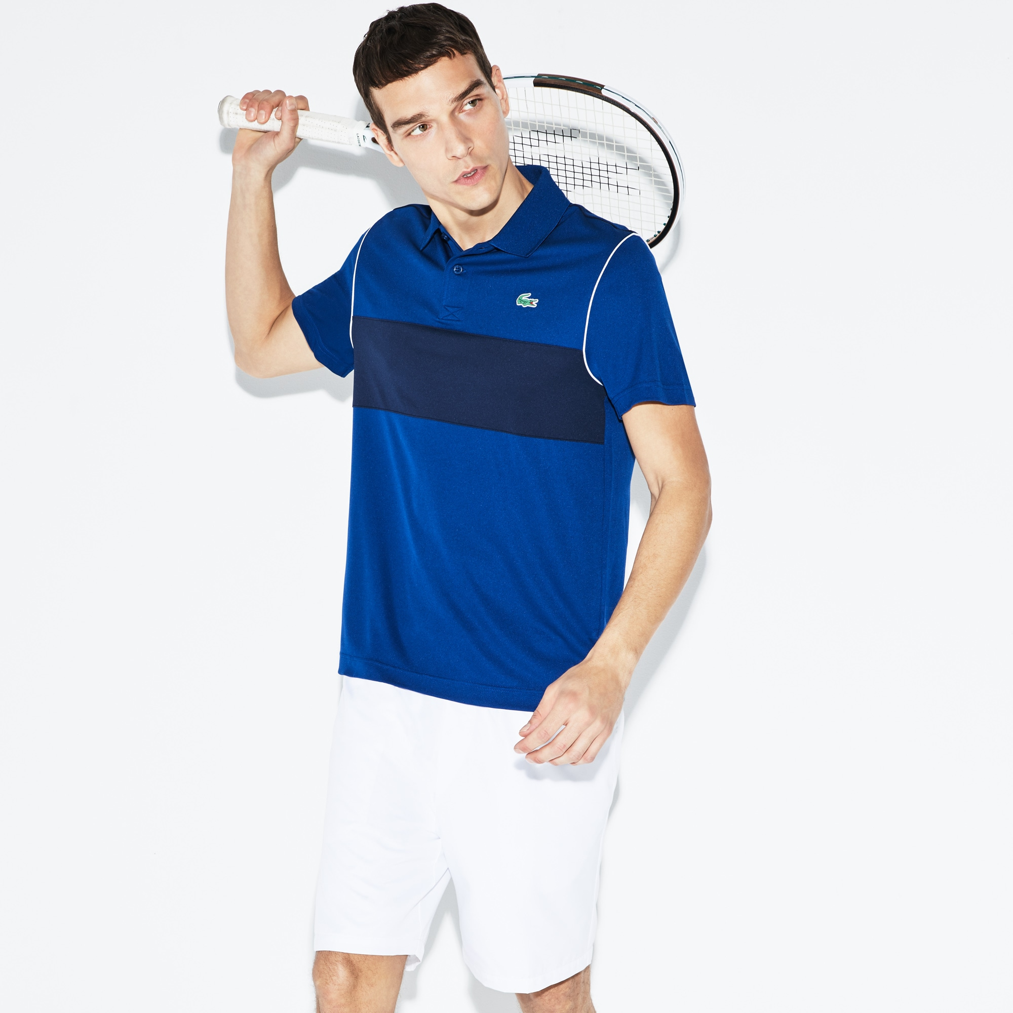 Polo Lacoste SPORT in piqué tecnico color block