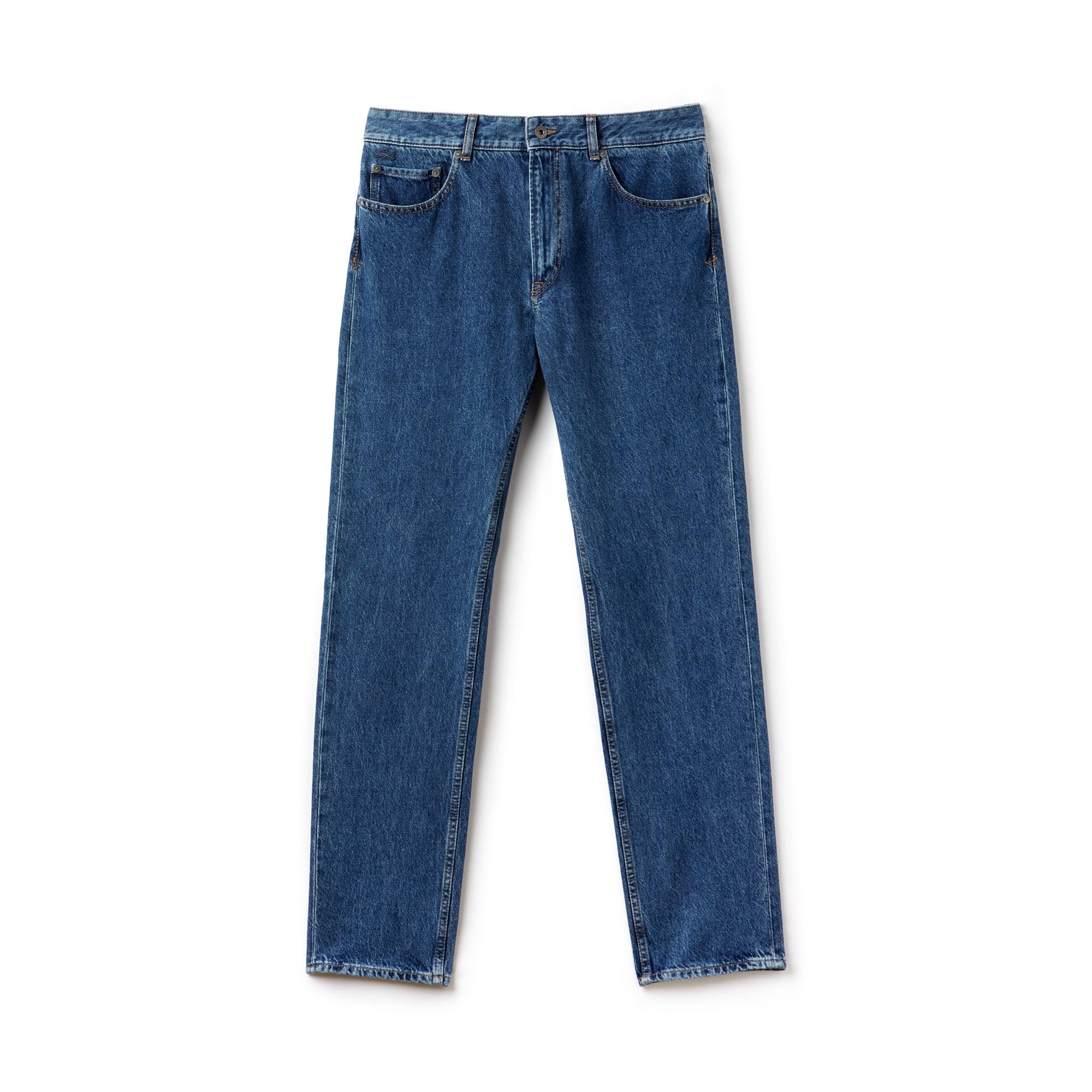 Jeans 5 tasche regular fit in denim di cotone