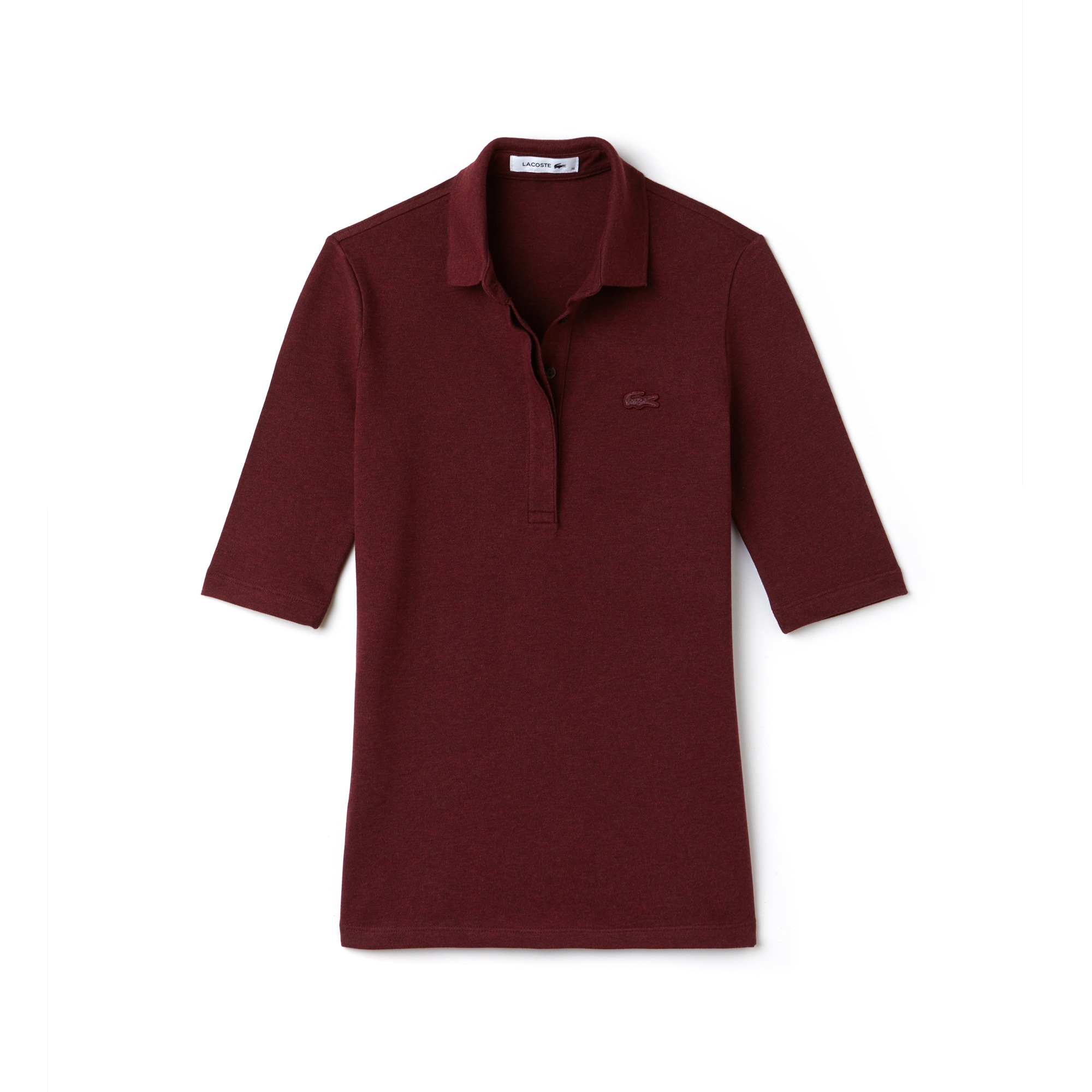 Polo slim fit Lacoste con maniche a tre quarti in mini piqué stretch