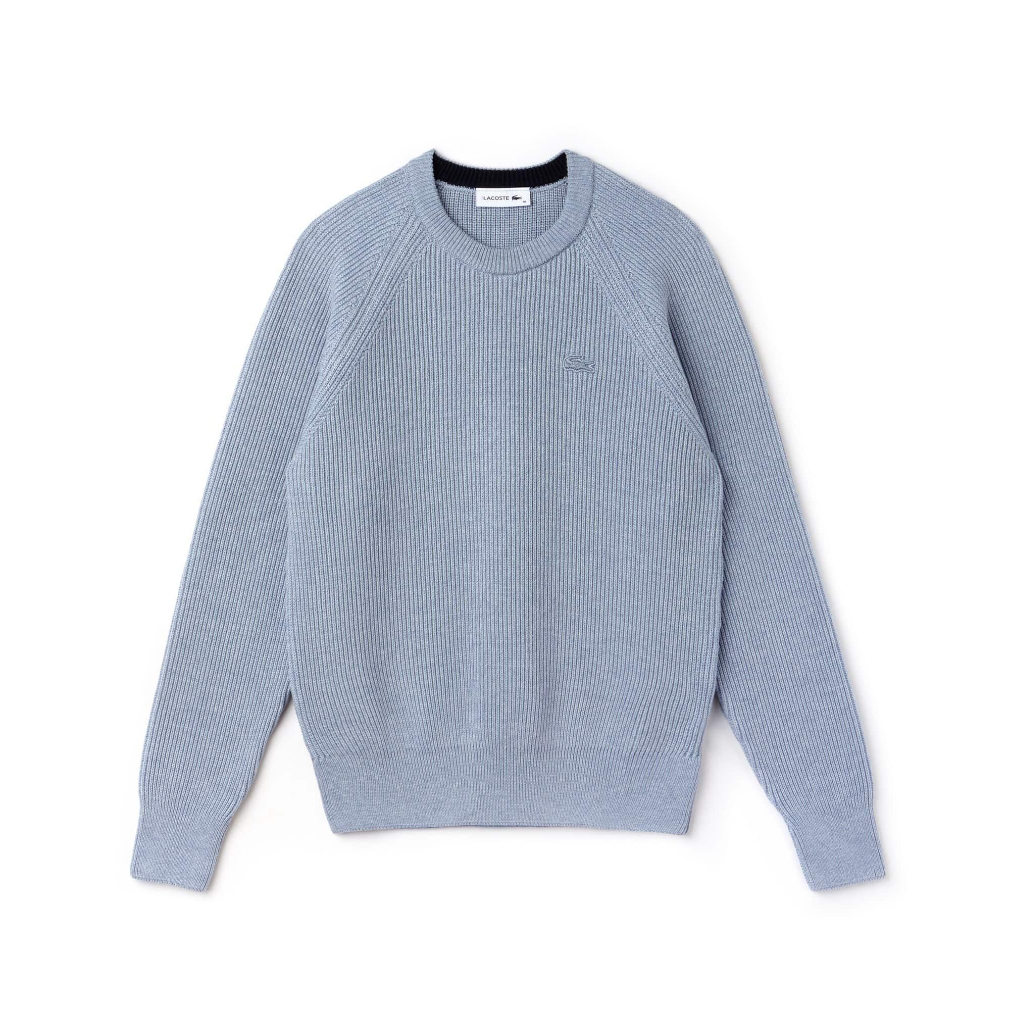 Pullover a girocollo in cotone e lana a costine tinta unita