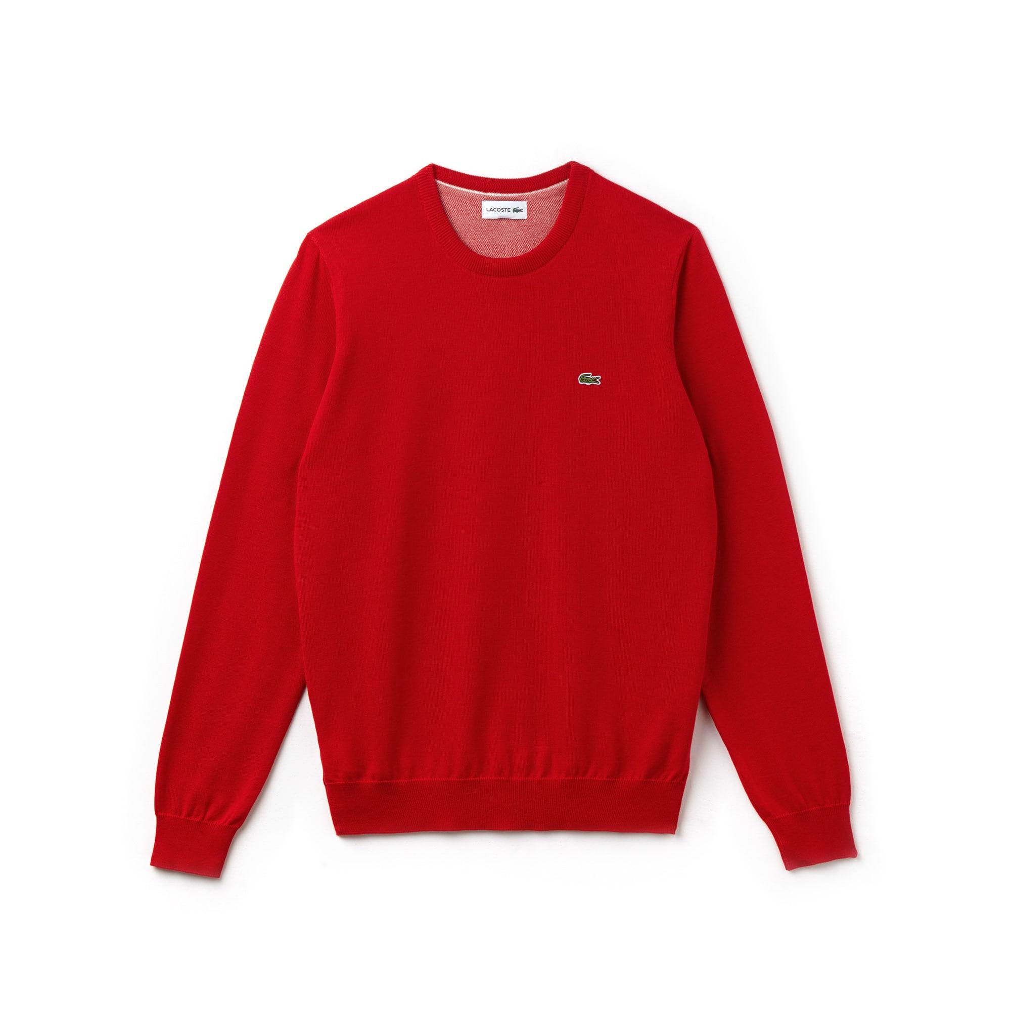 Pullover a girocollo in jersey di cotone tinta unita con dettaglio in piqué caviale