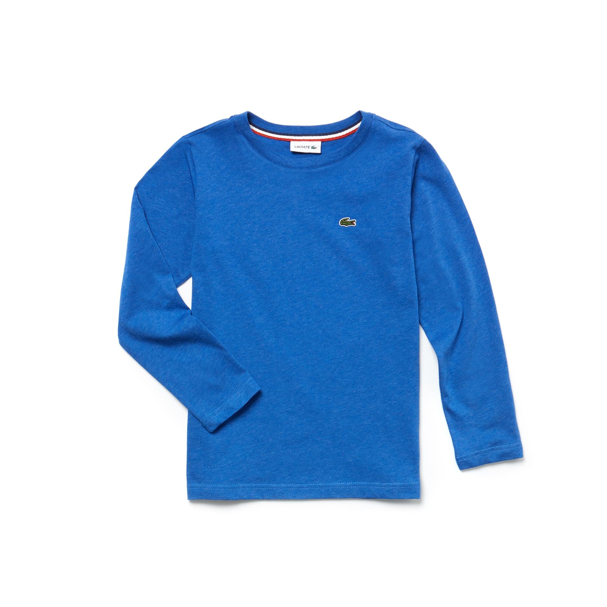 T-shirt Bambino a girocollo con maniche lunghe in jersey tinta unita