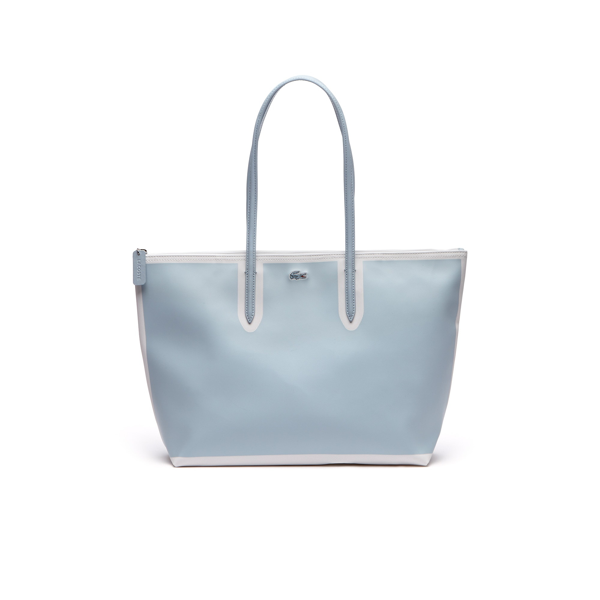 Shopping bag grande con zip L.12.12 Concept in petit piqué color block