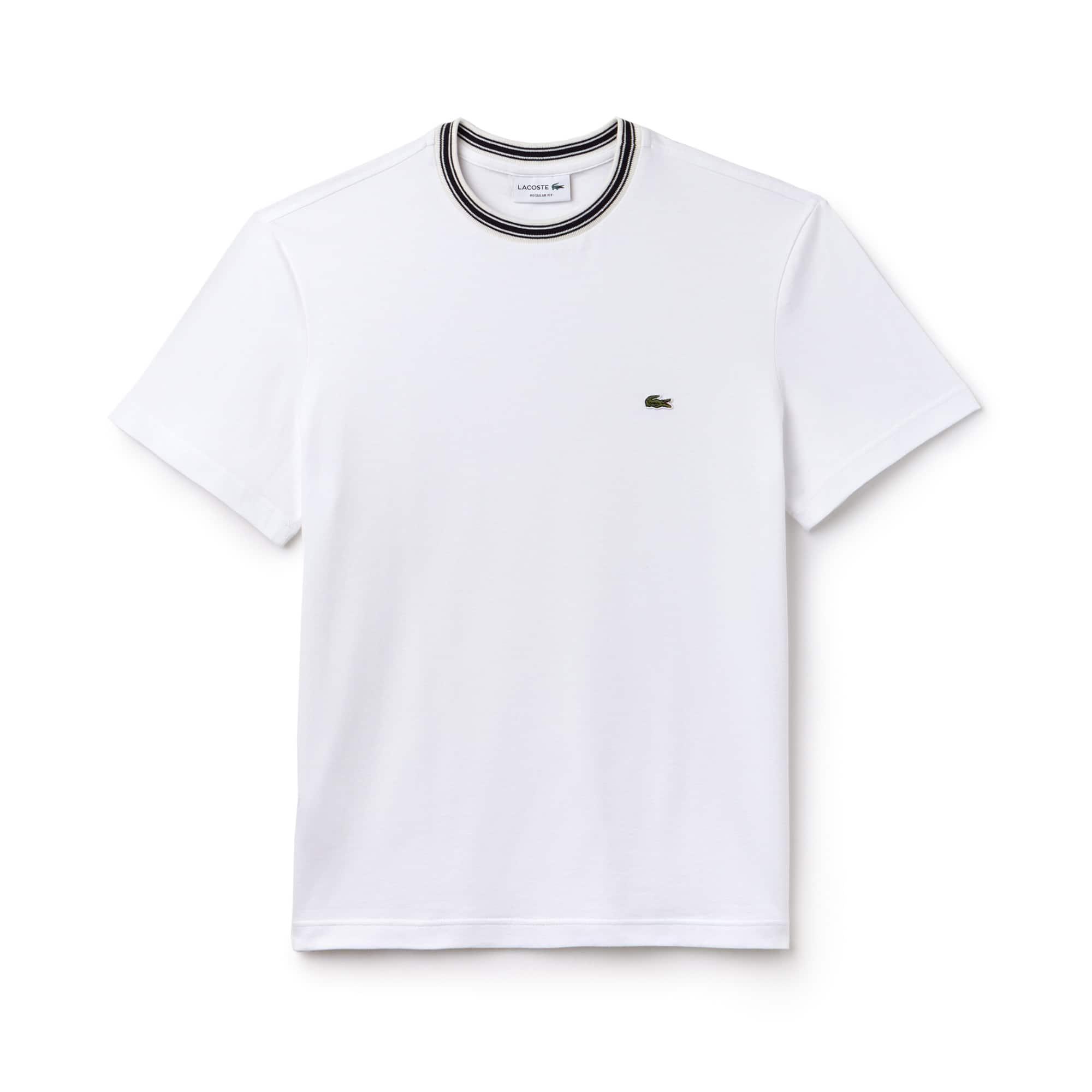 T-shirt a girocollo a righe in jersey di cotone tinta unita