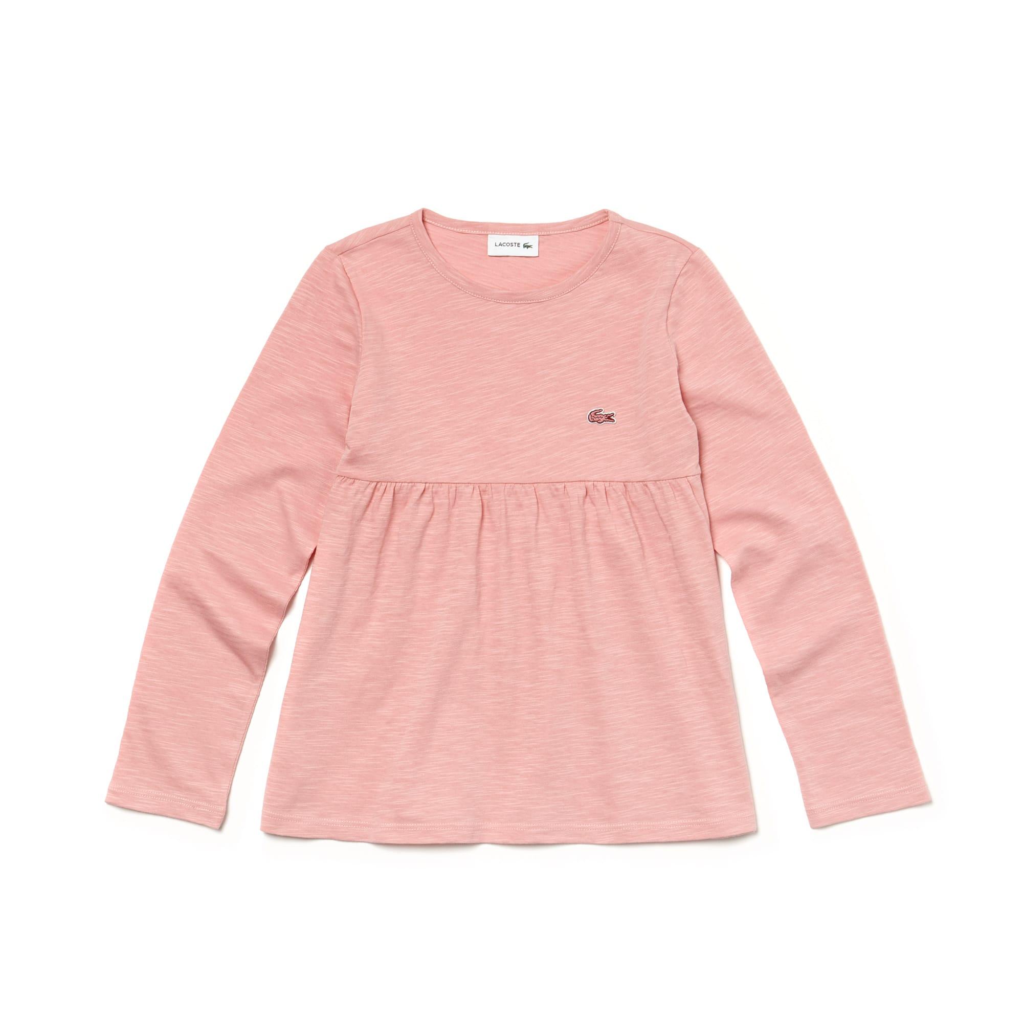 T-shirt da bambina a girocollo con maniche lunghe in jersey di cotone tinta unita