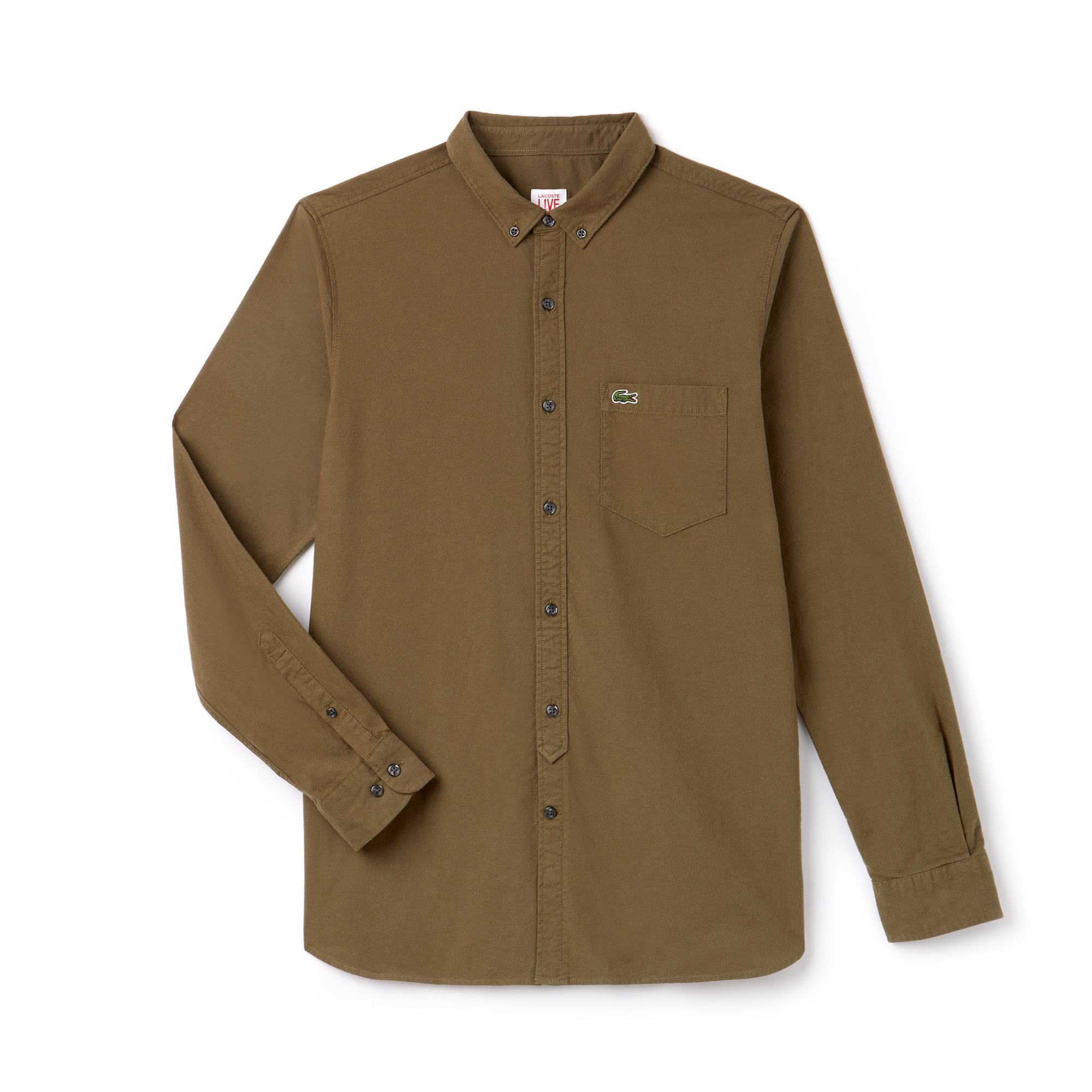 Camicia Skinny fit Lacoste LIVE in cotone Oxford tinta unita