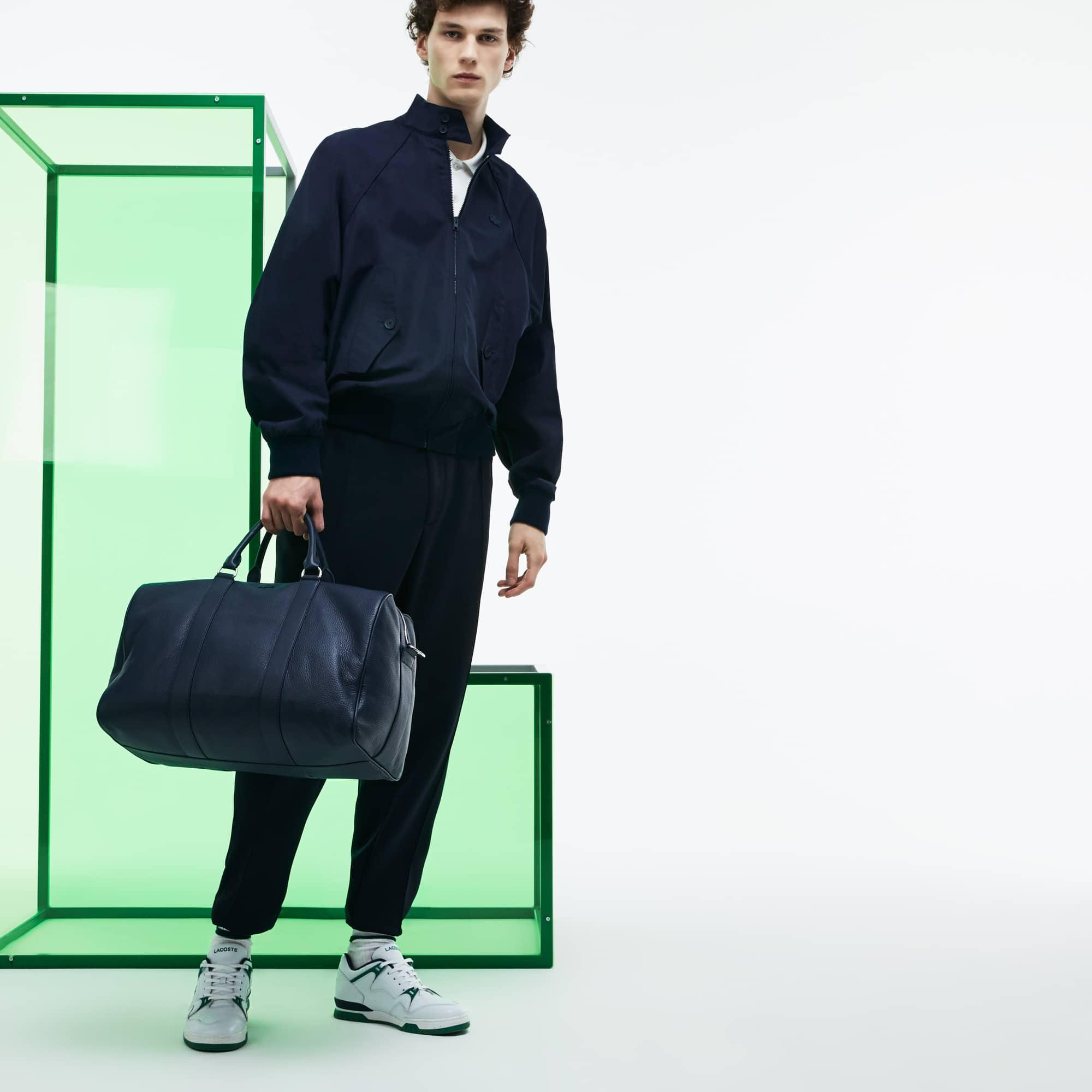 Grande boston bag a doppia modalità d'uso in pelle a grana Edizione Défilé
