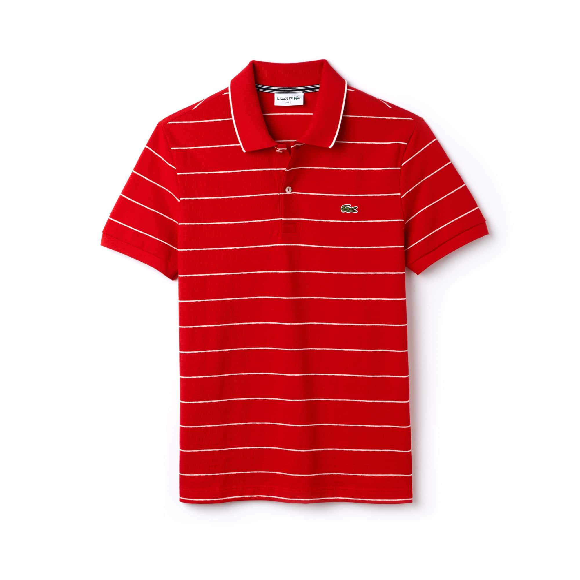 Polo slim fit Lacoste in maglia quadra e jersey a righe con bordino