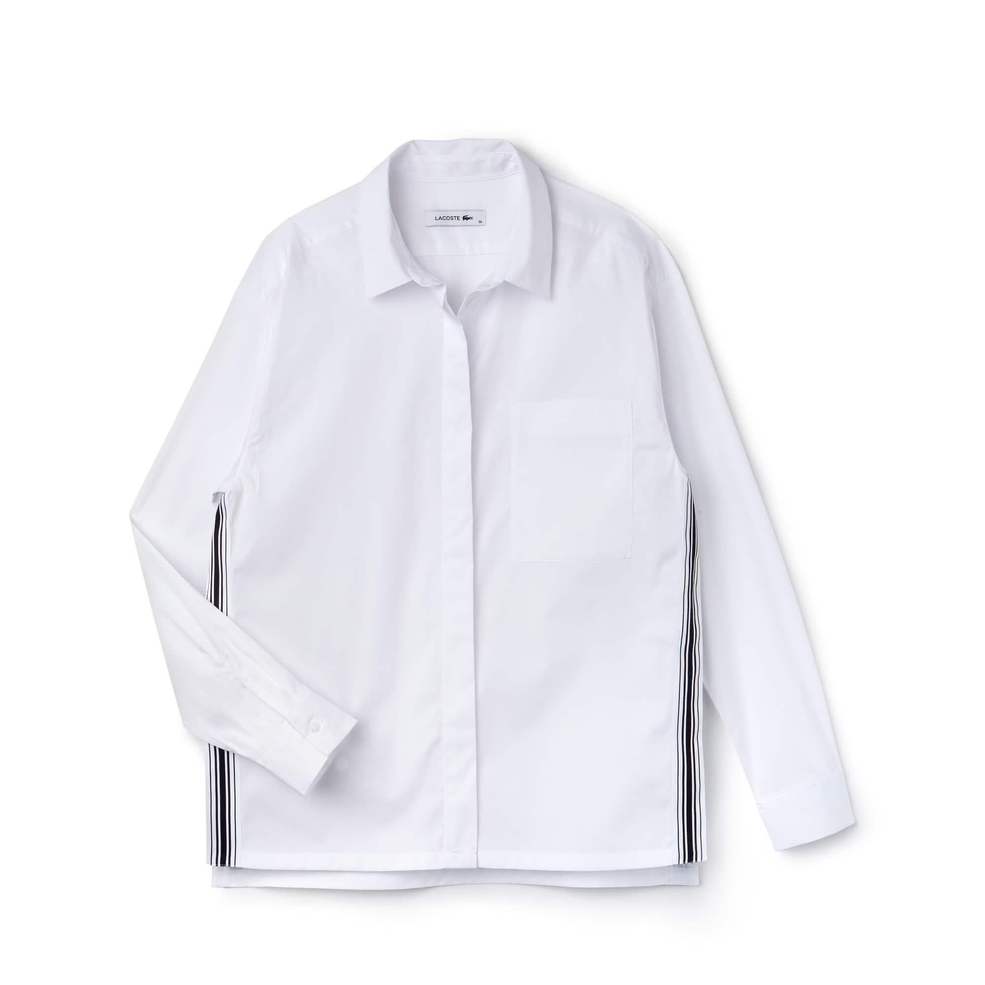 Camicia regular fit in popeline tinta unita con fasce a contrasto