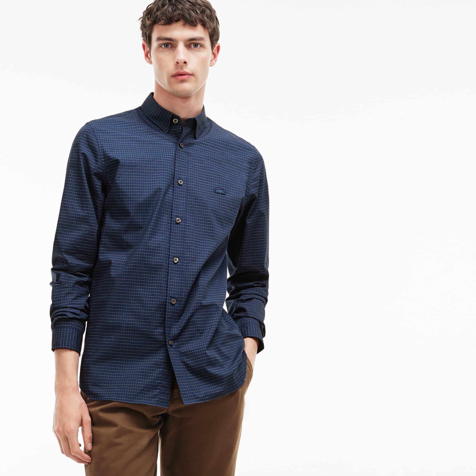 Camicia slim fit in popeline di cotone stampato