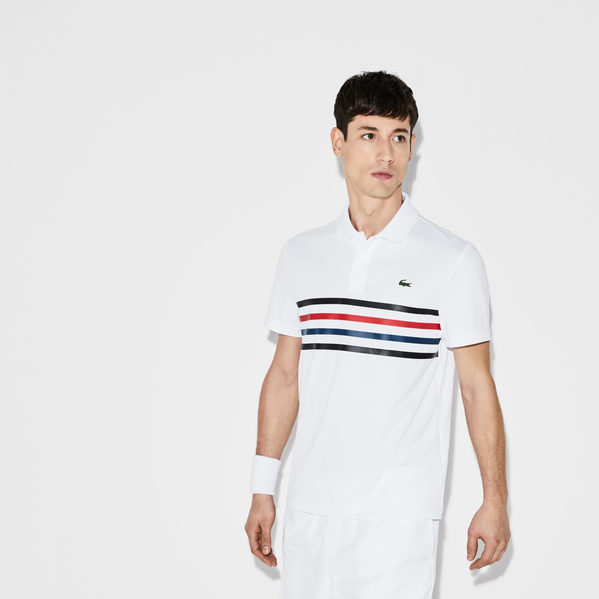 Polo Tennis Lacoste SPORT in piqué tecnico con fasce colorate