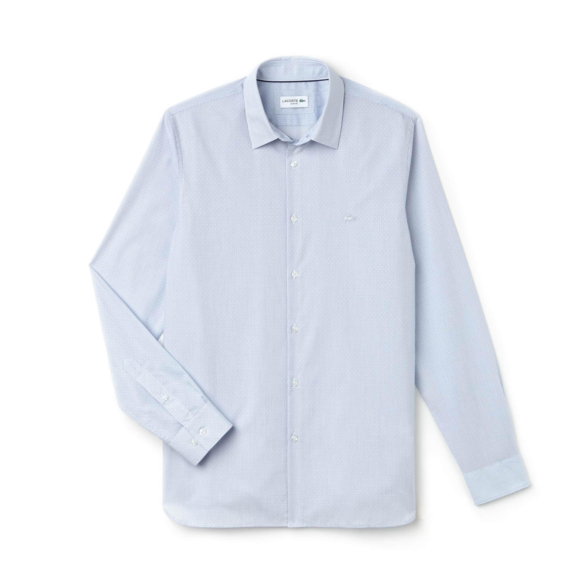 Camicia slim fit in popeline jacquard con stampa geometrica