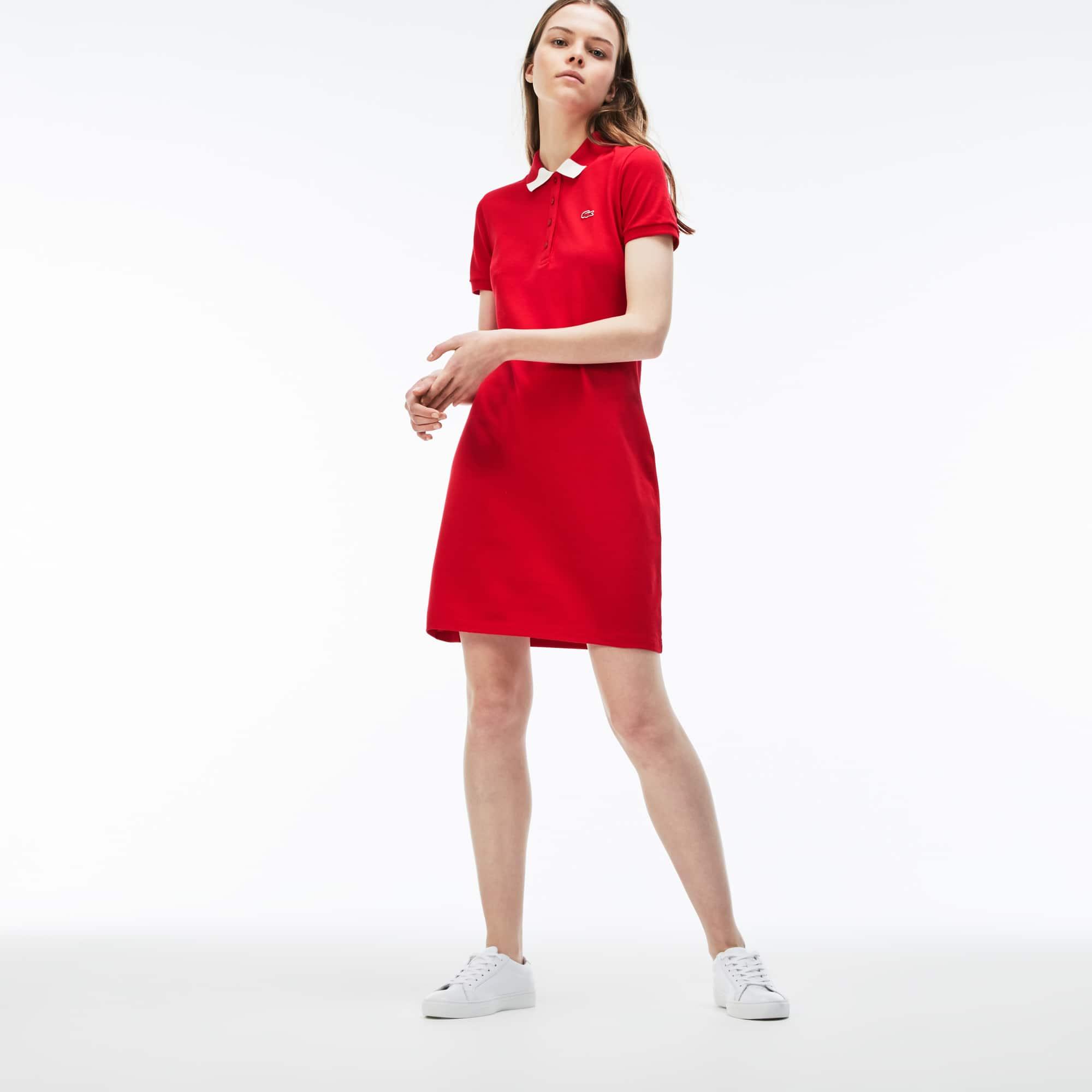 Jurk dames slim fit tweekleurig stretch-minipiqué met polokraag
