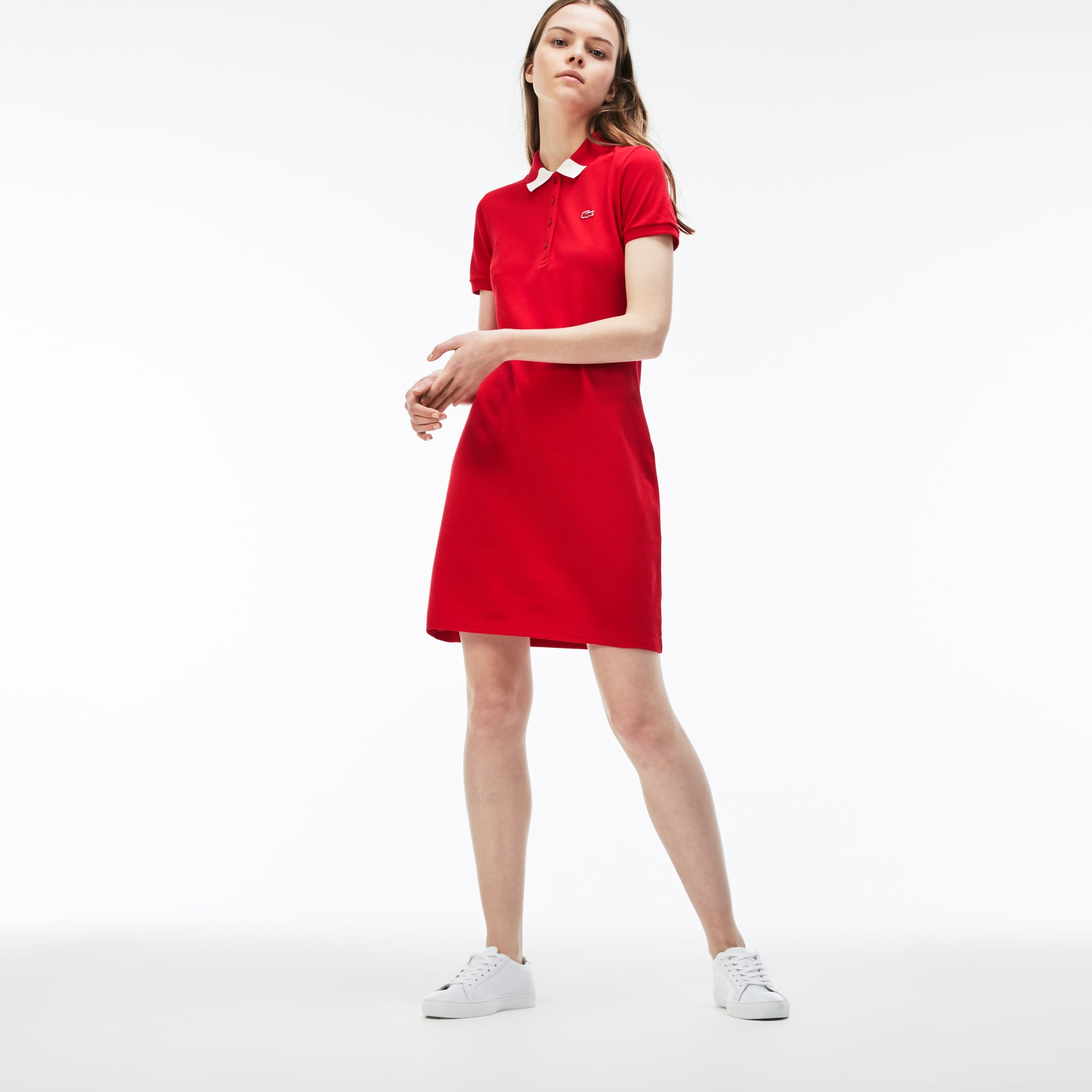 Jurk dames slim fit tweekleurig stretch-minipiqué met polokraag