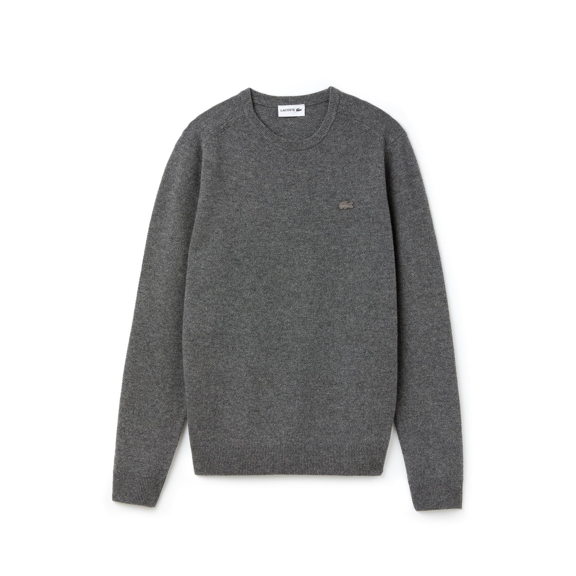 Sweater heren dubbel wol- en kasjmierpiqué met ronde hals